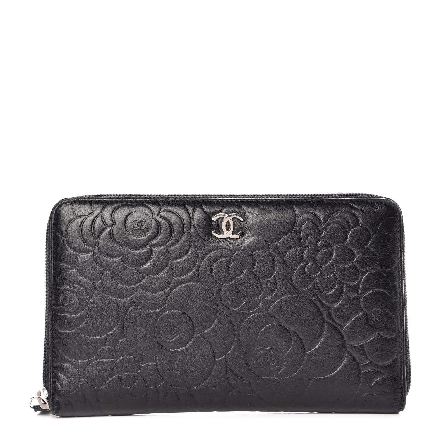 1d653154 CHANEL Lambskin Camellia Embossed Zip Around Organizer Wallet Black