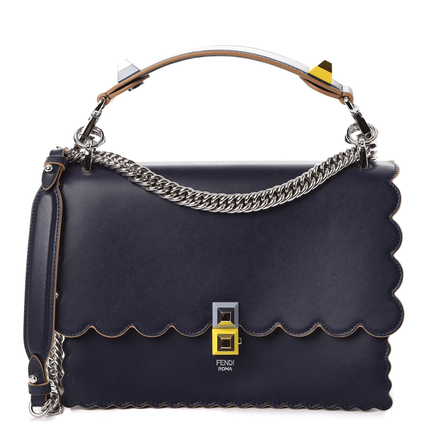 1e539d7de27a FENDI Calfskin Studded Kan I Shoulder Bag Blueberry 251666