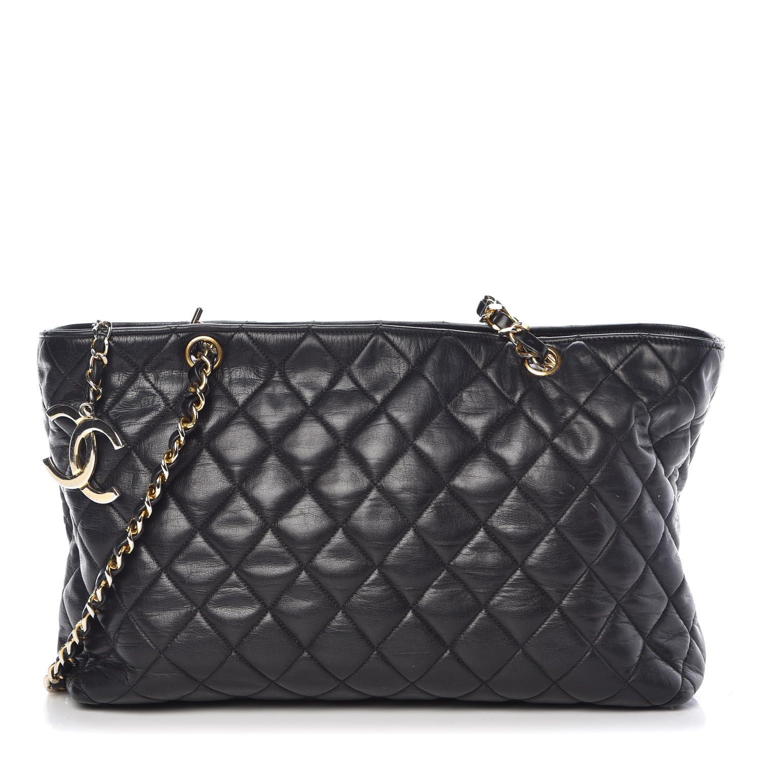 6255134d08 CHANEL Lambskin Quilted Tote Black