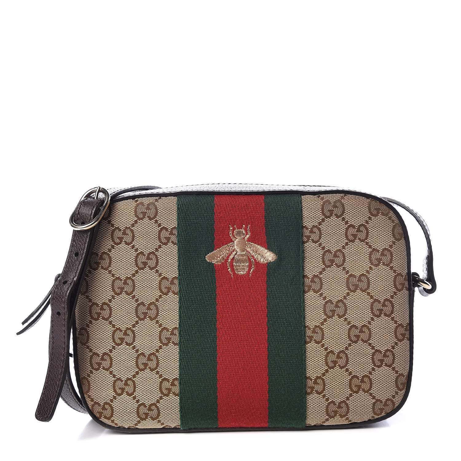 GUCCI Monogram GG Supreme Web Small Webby Bee Shoulder Bag Dark Brown