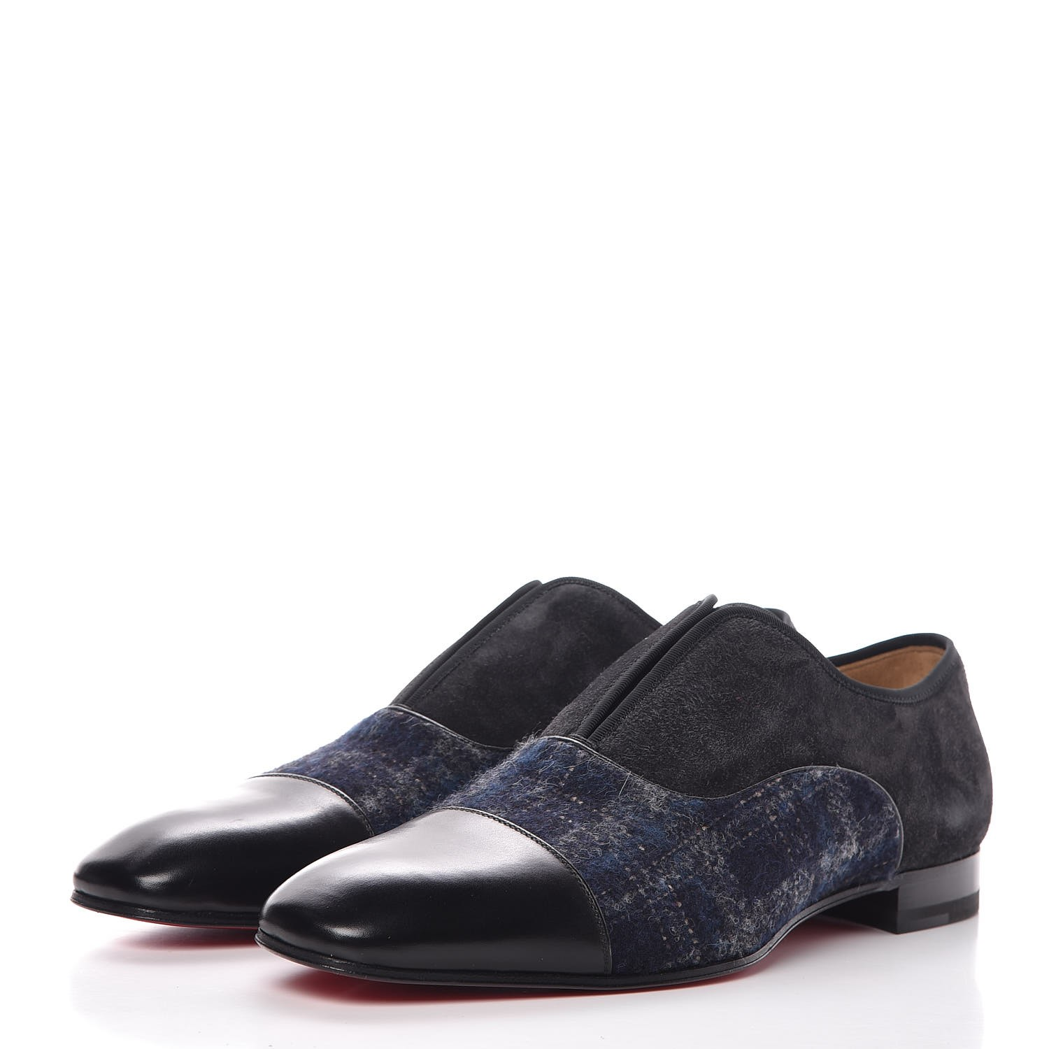 29ccebee1b5 CHRISTIAN LOUBOUTIN Mens Suede Wool Alpha Male Flat Loafers 42 Black 346084