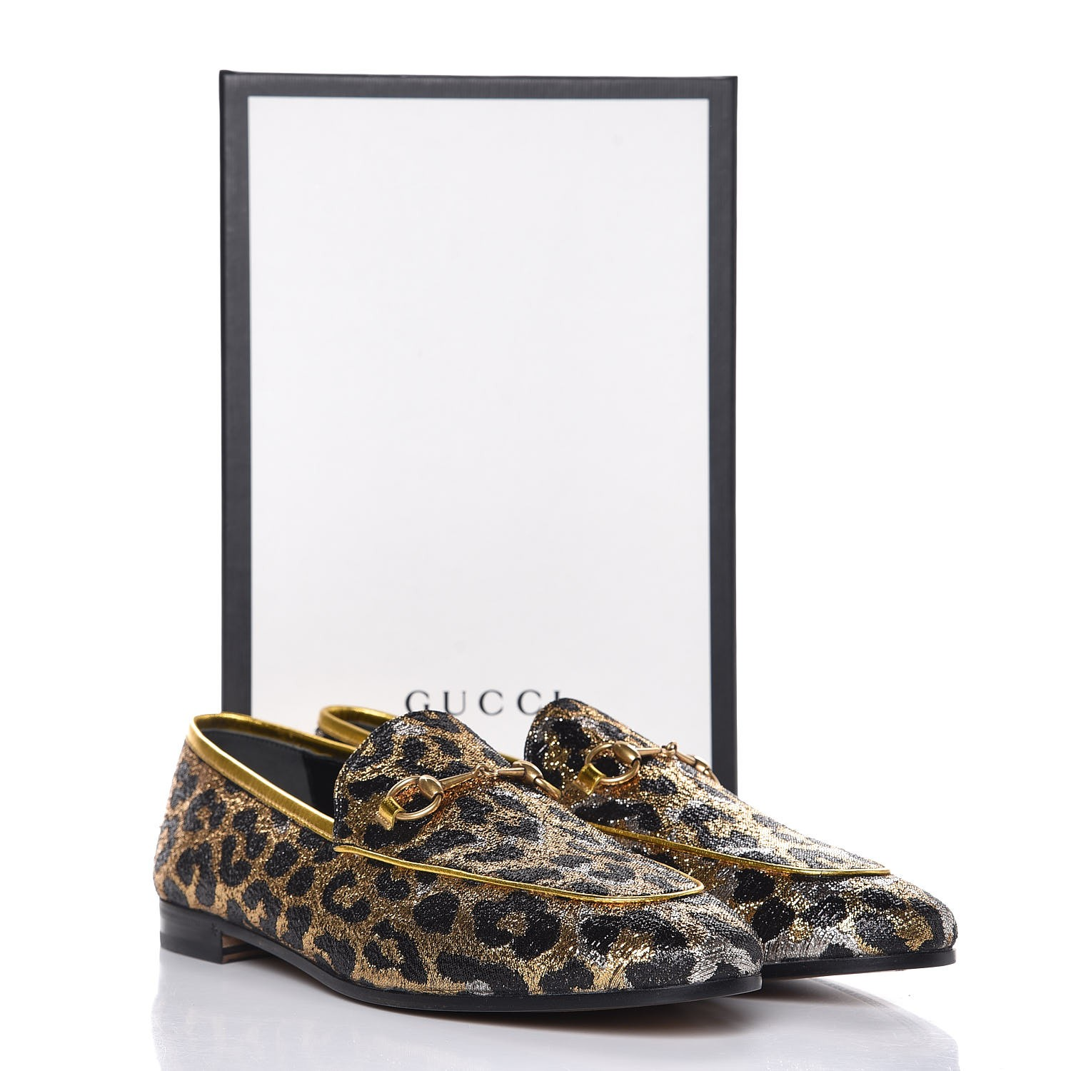 532ad6756c6 GUCCI Leopard Print Jacquard Horsebit Jordaan Loafers 41 Gold. Empty.  Pinch Zoom