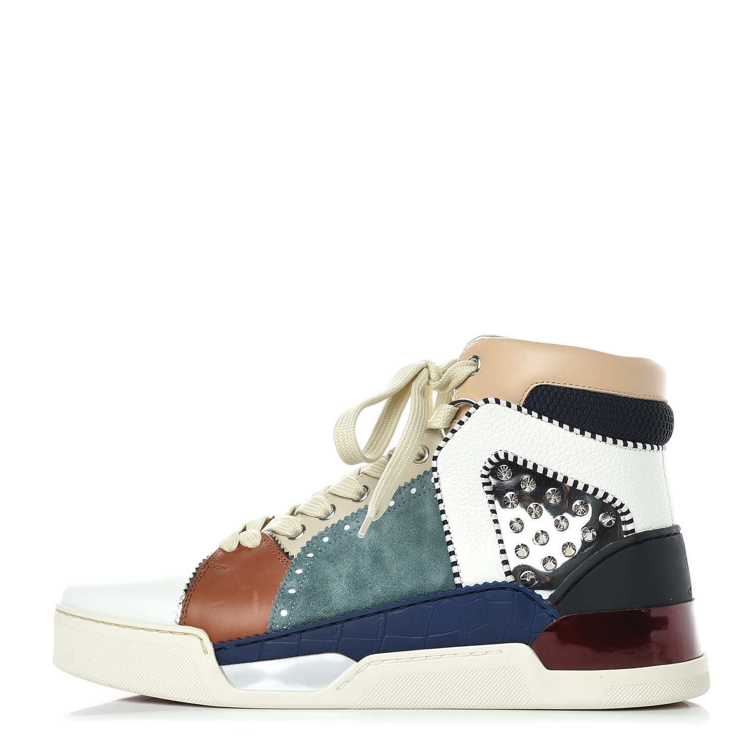 pretty nice 96e0f f60f9 CHRISTIAN LOUBOUTIN Calfskin Patent Veau Velours Spikes Mens Loubikick Flat  Sneakers 41 Multicolor