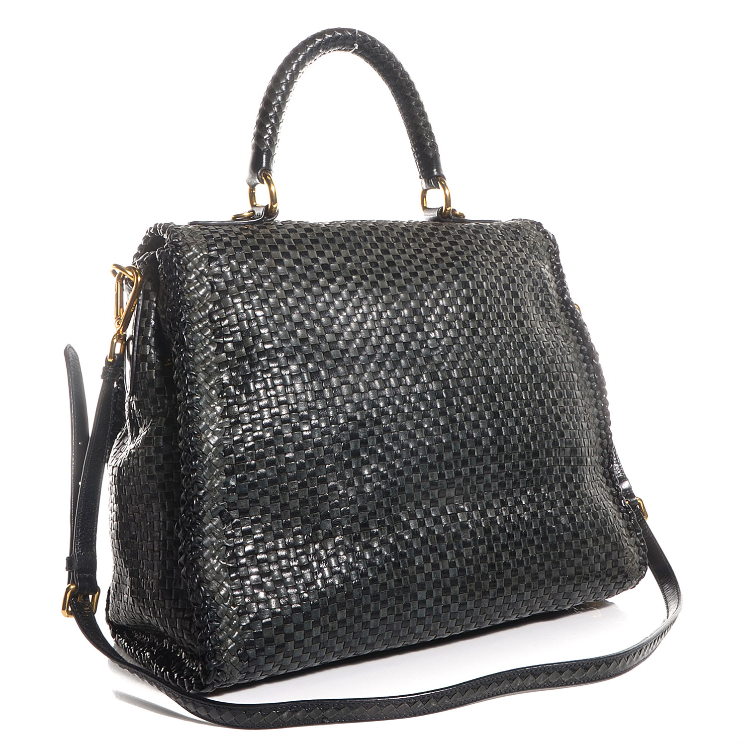 fce5d62d4080 PRADA Woven Goatskin Madras Top Handle Satchel Baltico Nero. Empty.  Pinch/Zoom