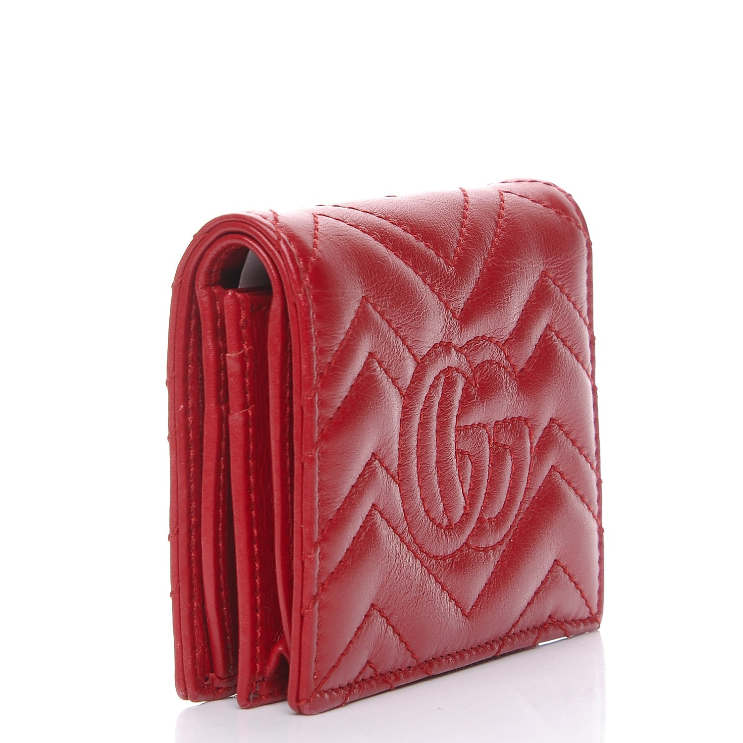 018fb045ab050 GUCCI Calfskin Matelasse GG Marmont Card Case Hibiscus Red 270324