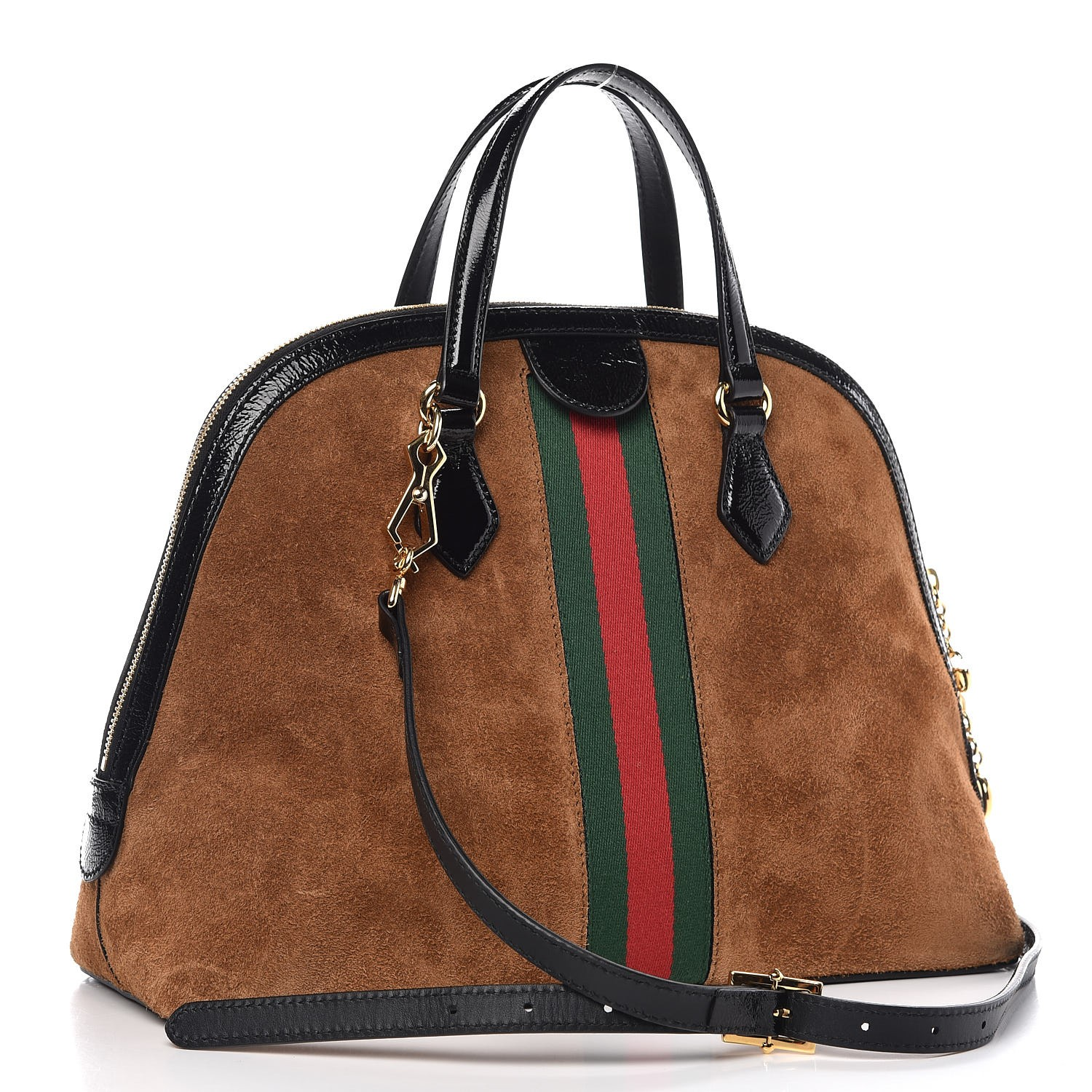 84c61df384c GUCCI Suede Patent GG Web Medium Ophidia Top Handle Bag Brown 304147