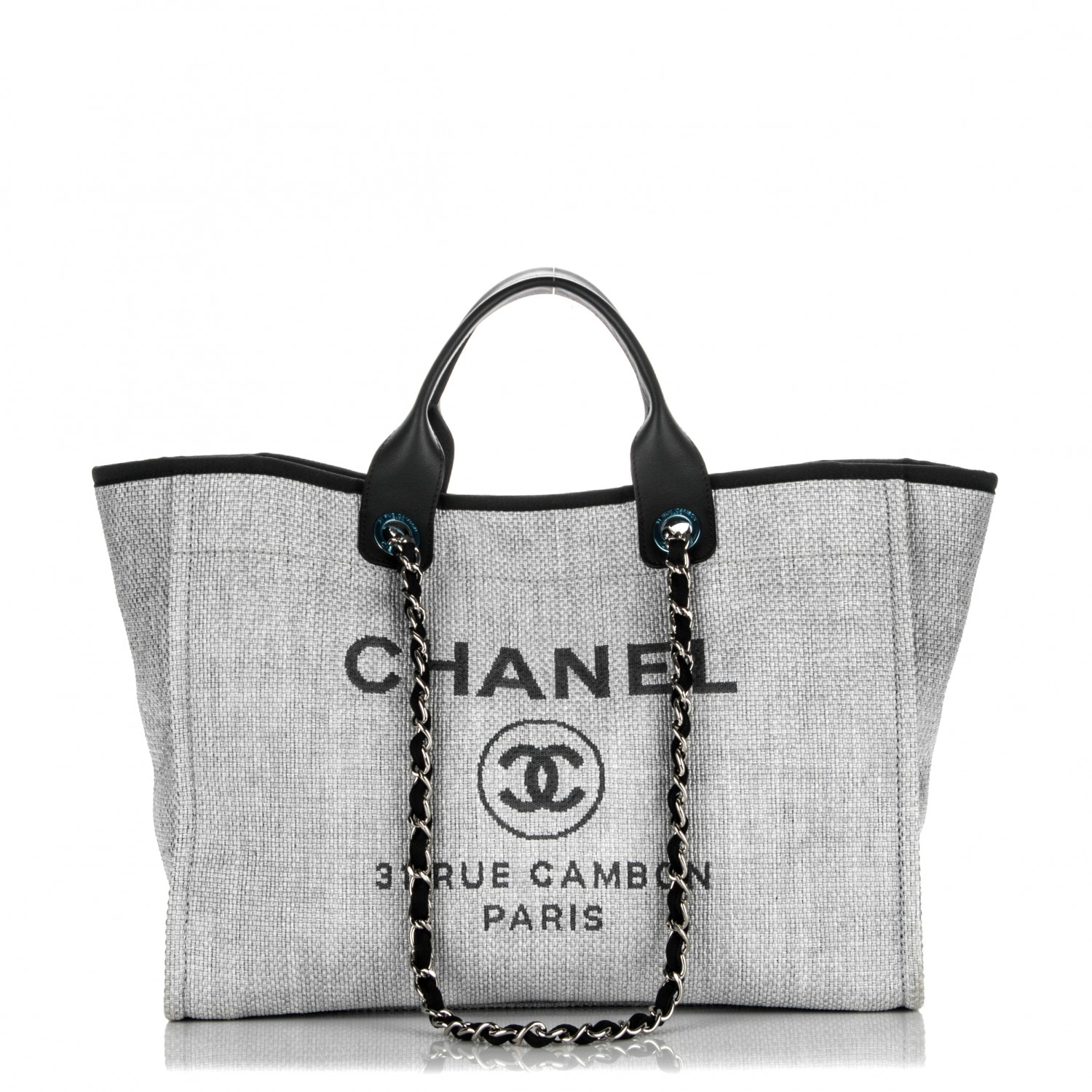 bd934203fb079a CHANEL Canvas Large Deauville Tote Grey 181973