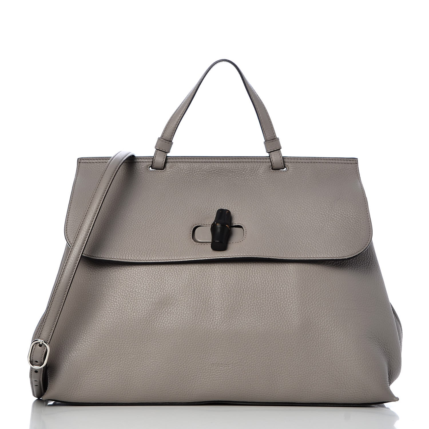 781e33868bf0c7 GUCCI Pebbled Calfskin Large Bamboo Daily Top Handle Bag Light Grey 295050