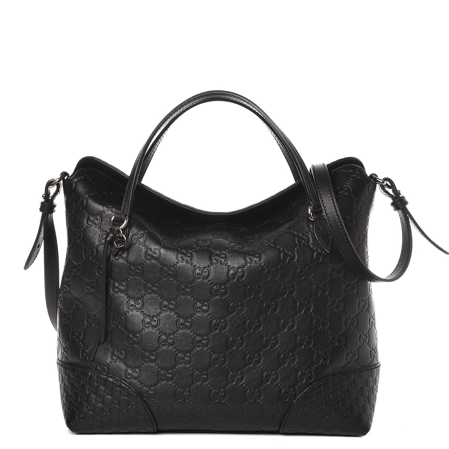 c4d6b8bd0388a7 GUCCI Guccissima Medium Bree Top Handle Bag Black 272937