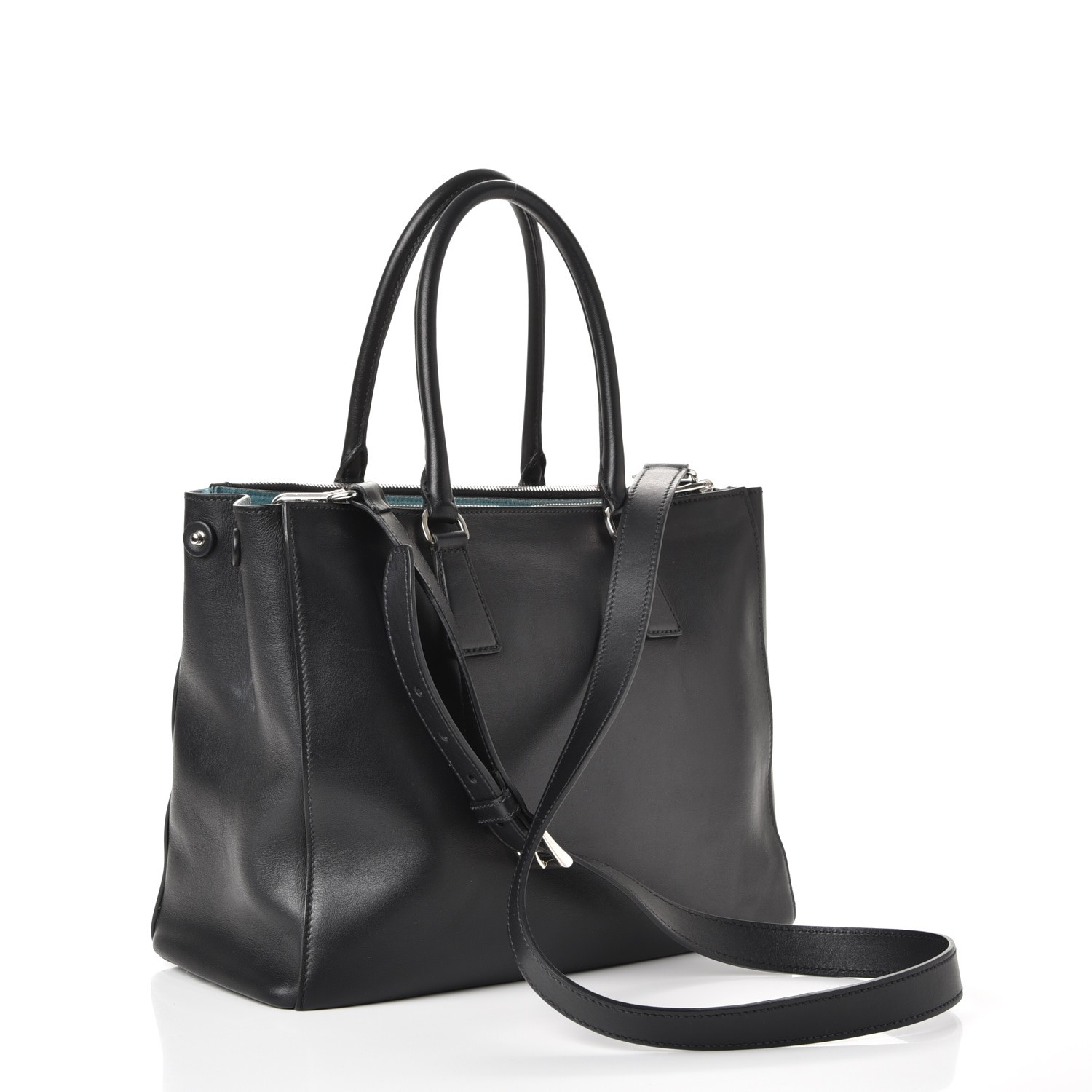 8ac5a817fb63 PRADA City Calf Bi-Color Medium Galleria Double Zip Tote Nero Black Celeste  238803