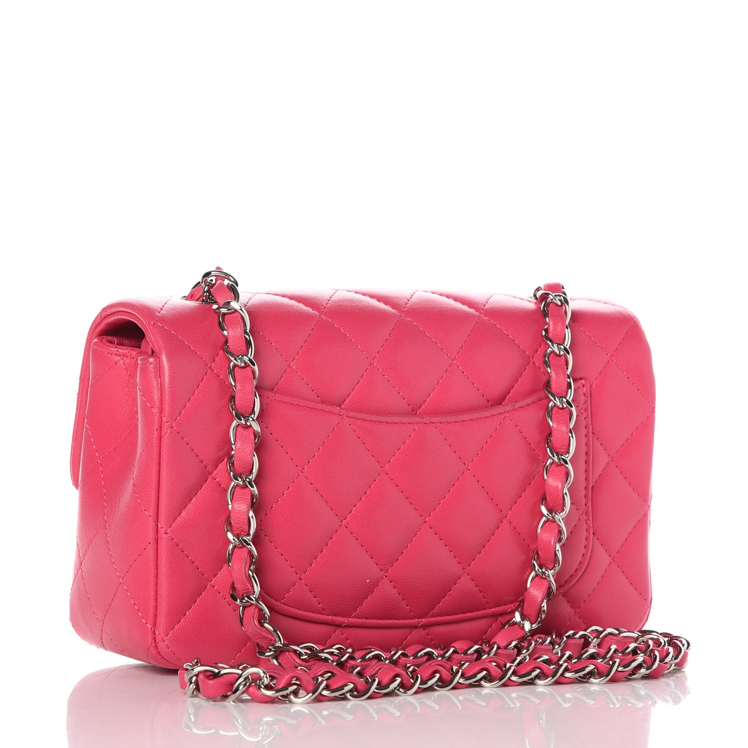 581c4fcb8cc5 CHANEL Lambskin Quilted Mini Rectangular Flap Dark Pink 272879
