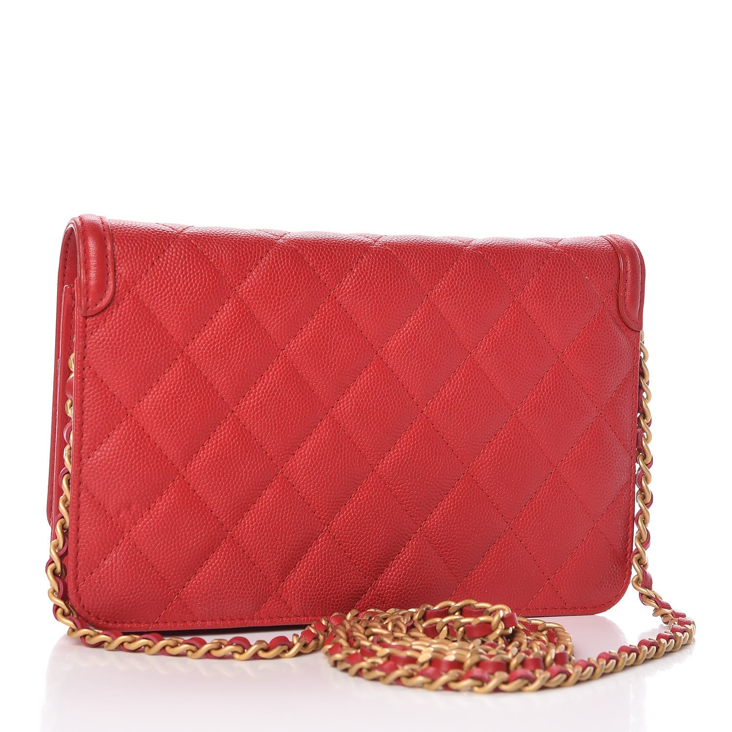 5323b79db13d CHANEL Caviar Quilted CC Filigree Wallet On Chain WOC Red 329637