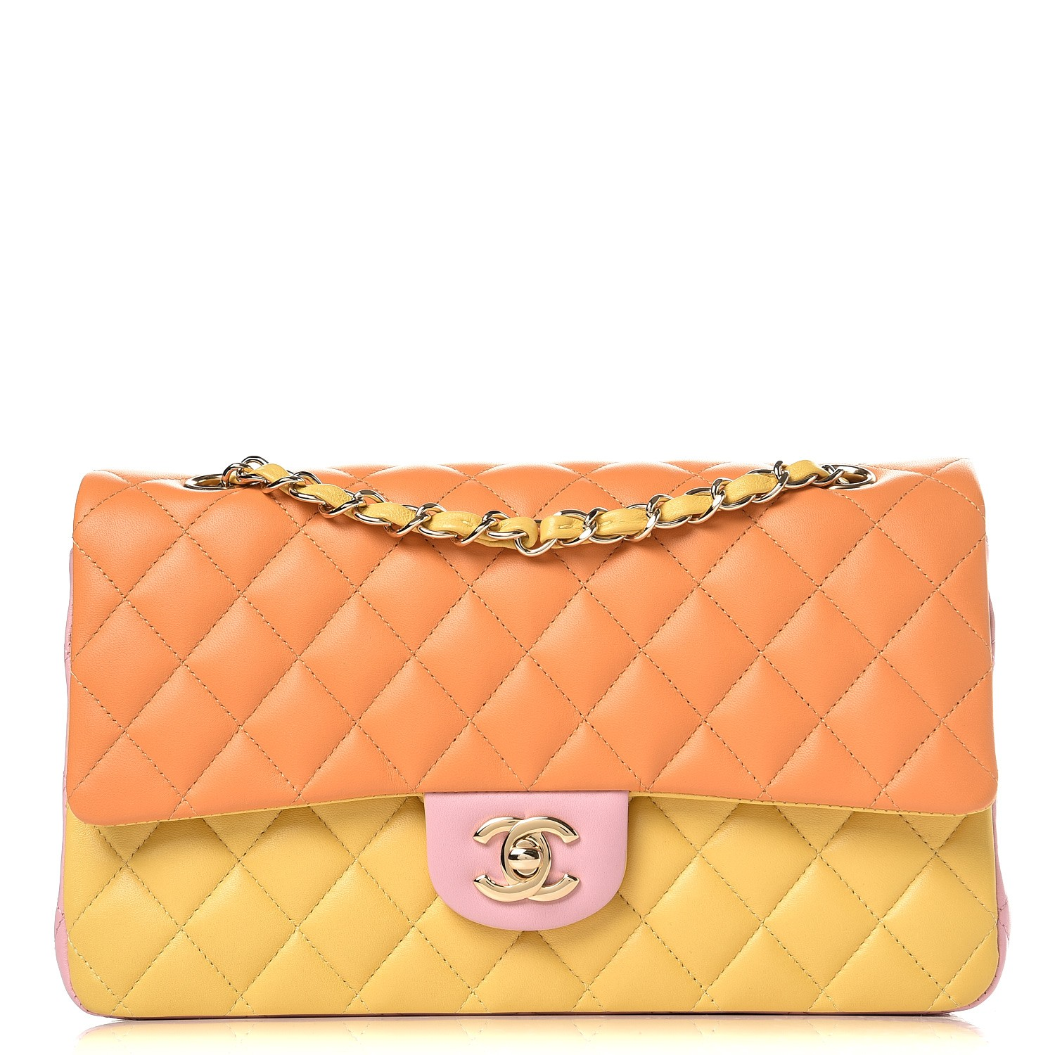 d16094075295 CHANEL Lambskin Quilted Tri-Color Medium Double Flap Orange 300401