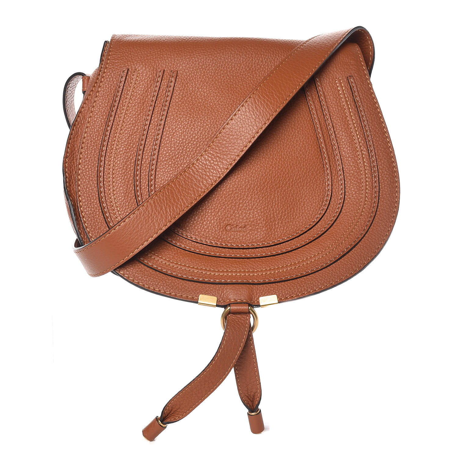 half off discount shop on sale CHLOE Calfskin Medium Marcie Round Crossbody Tan