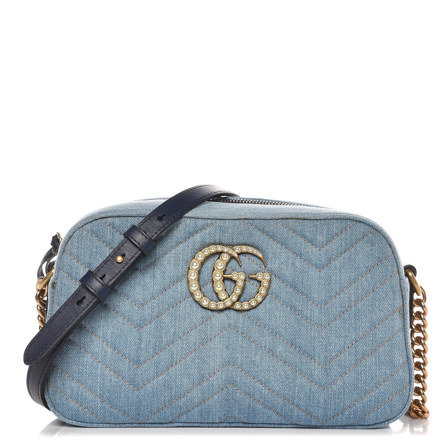 7d5321e4df3d GUCCI Denim Matelasse Pearl Studded Small GG Marmont Chain Shoulder Bag  Blue 266755