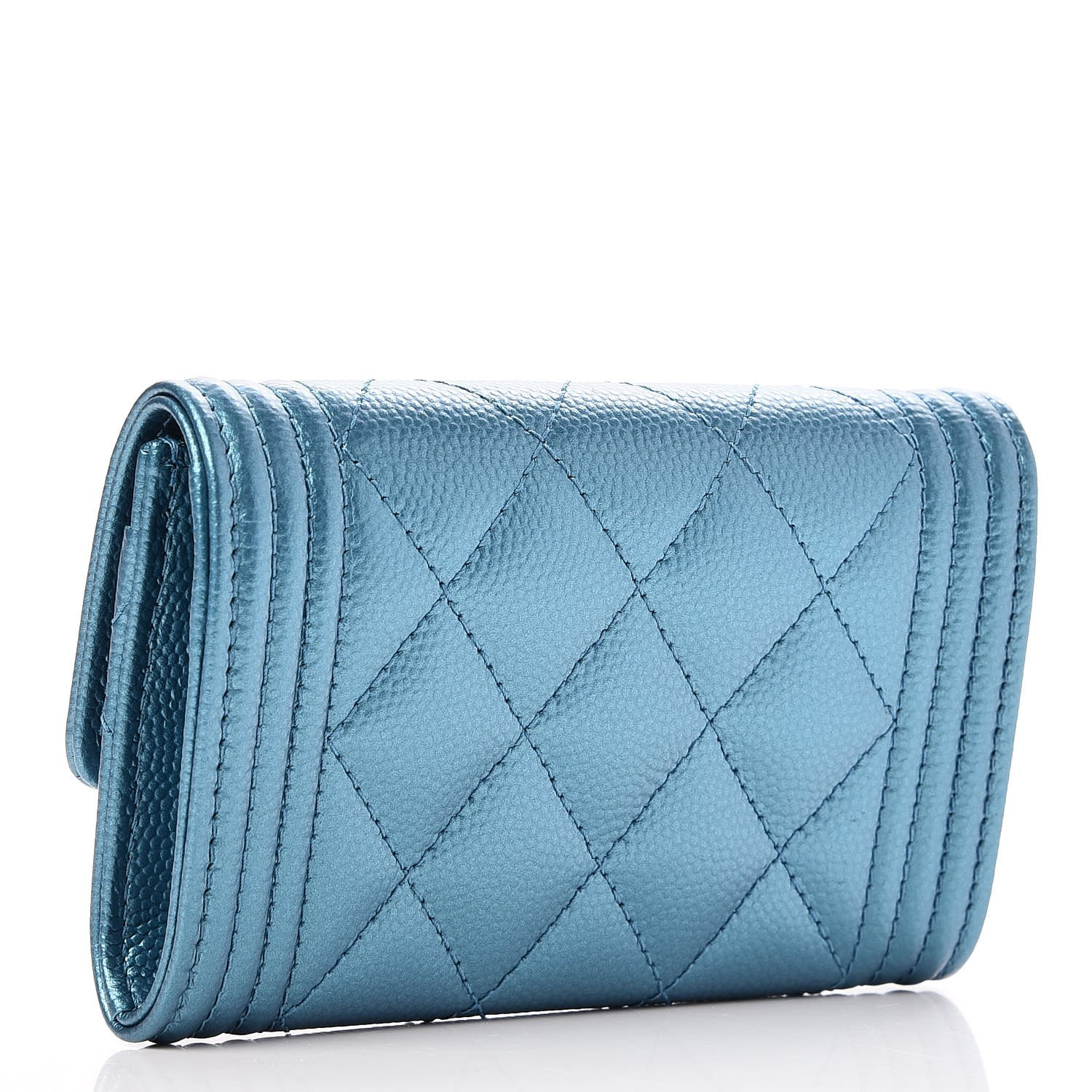 1512dfa2dbc9 CHANEL Metallic Caviar Quilted Boy Card Holder Wallet Turquoise 238439