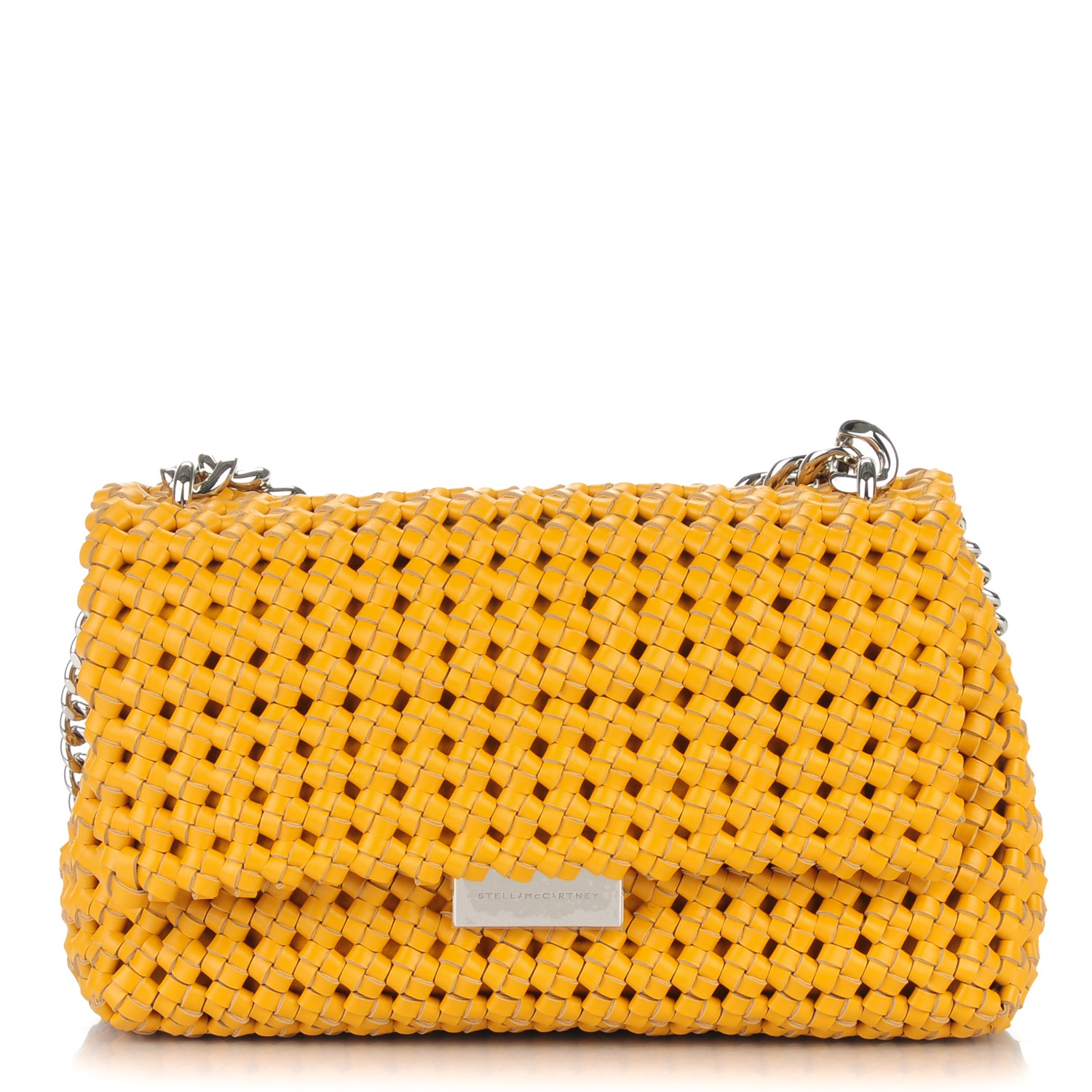 Stella Mccartney Faux Leather Woven Bex Shoulder Bag Yellow