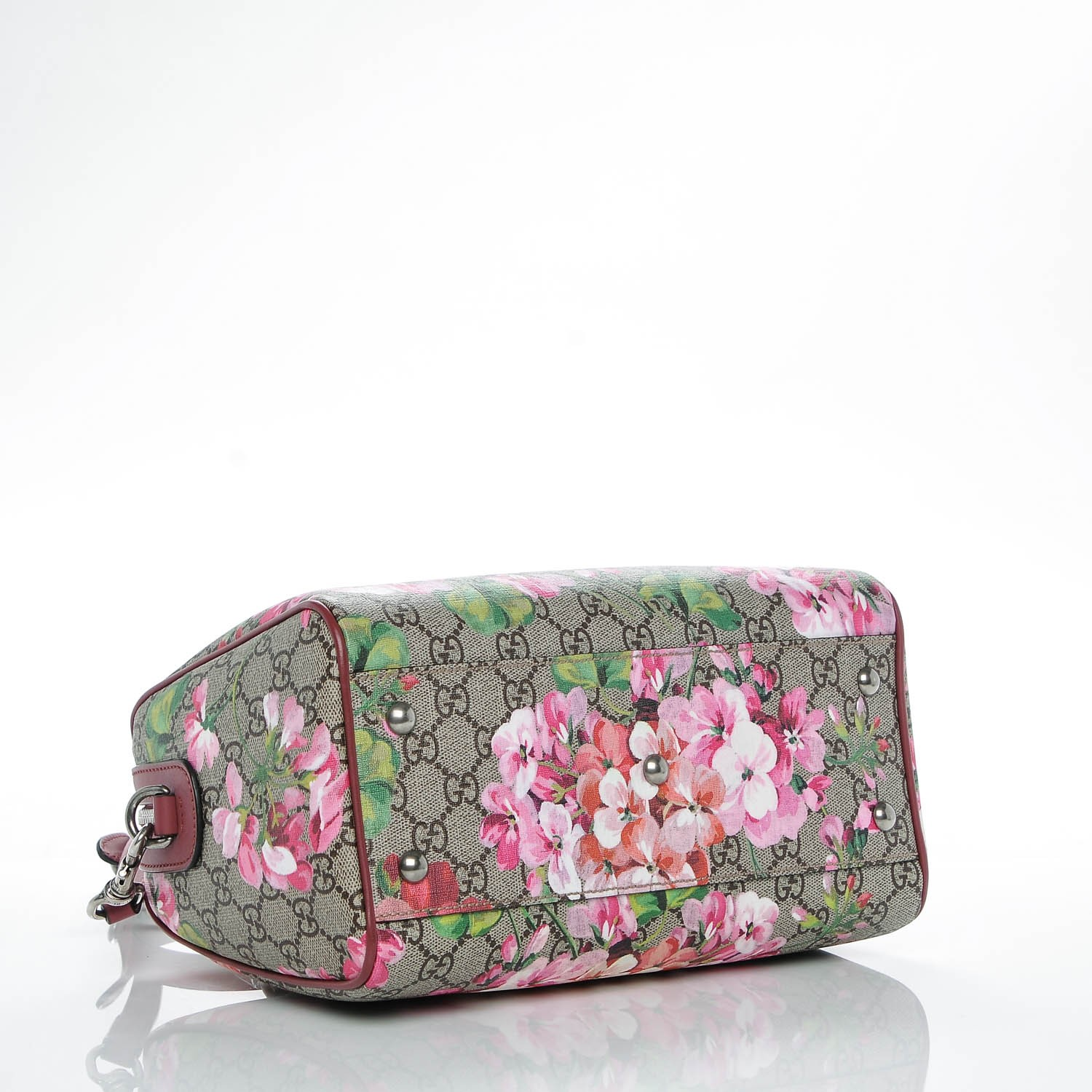 46251b15a6a3d5 GUCCI GG Supreme Monogram Blooms Small Top Handle Bag Antique Rose 185855