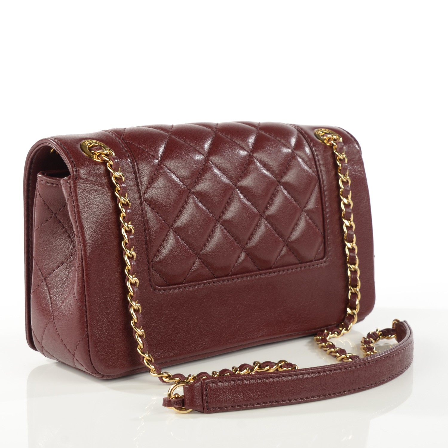 14be1477993b CHANEL Sheepskin Quilted Small Mademoiselle Vintage Flap Dark Red 115435