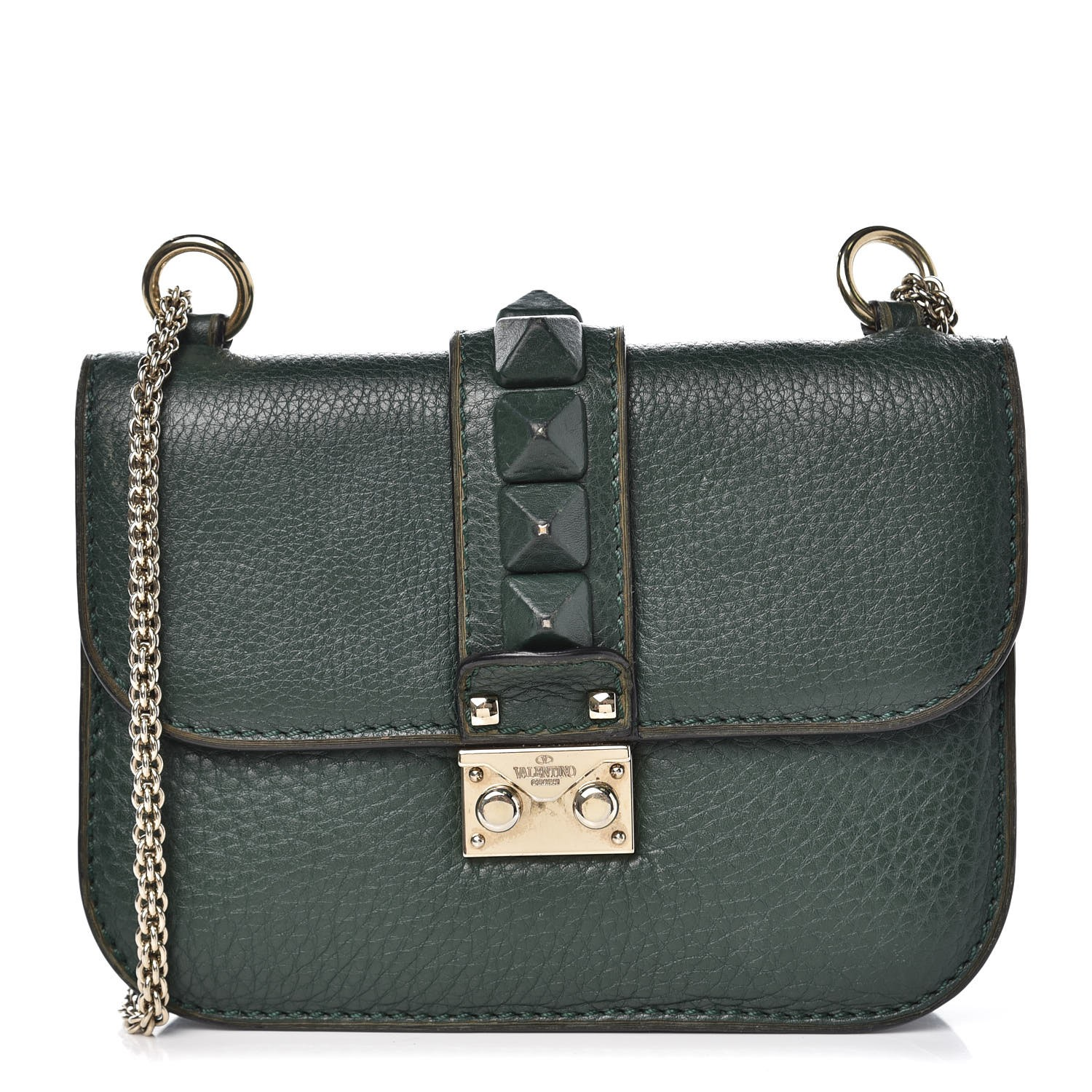7d0c0ac0e VALENTINO Pebbled Calfskin Small Glam Lock Rockstud Flap Green 341953