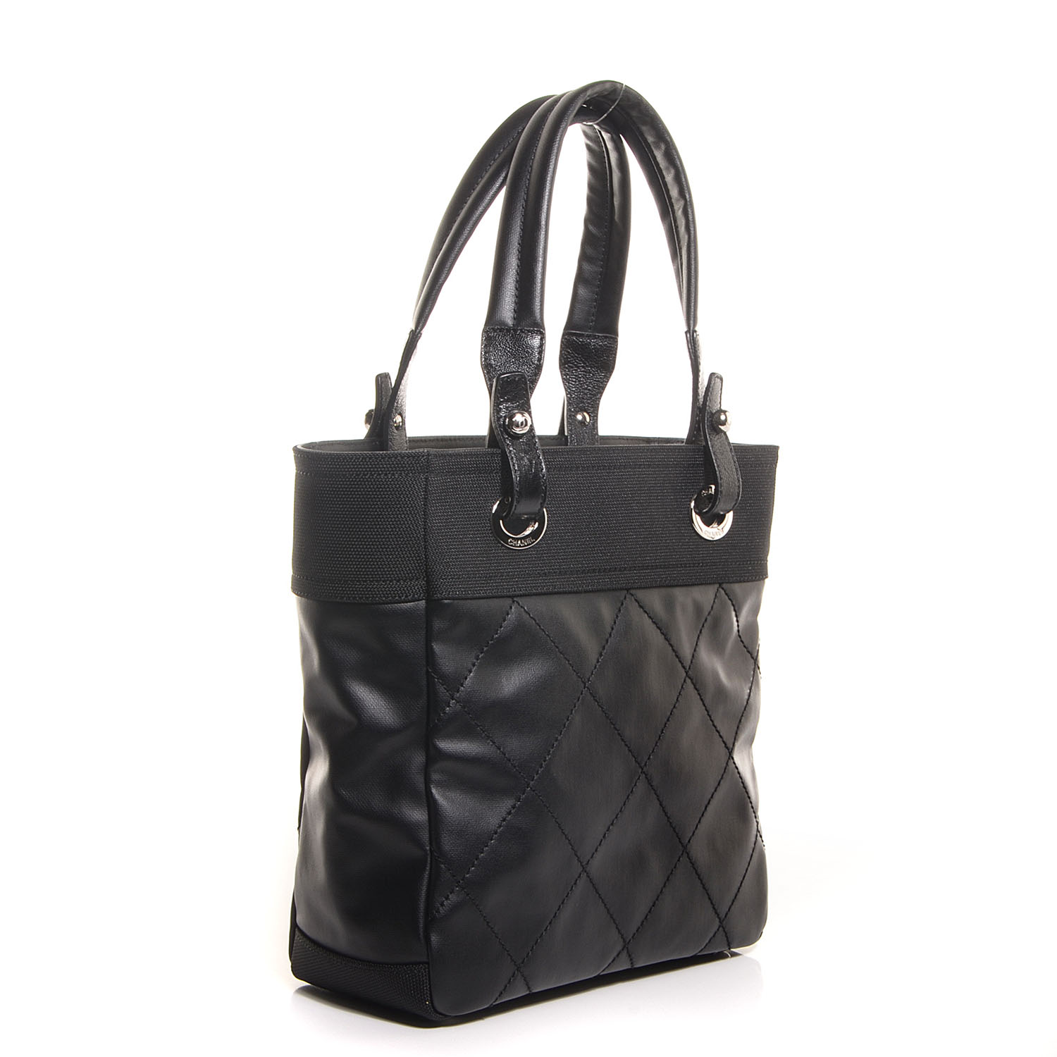 4ed9daaea87d CHANEL Coated Canvas Quilted Small Paris Biarritz Tote Black 90527