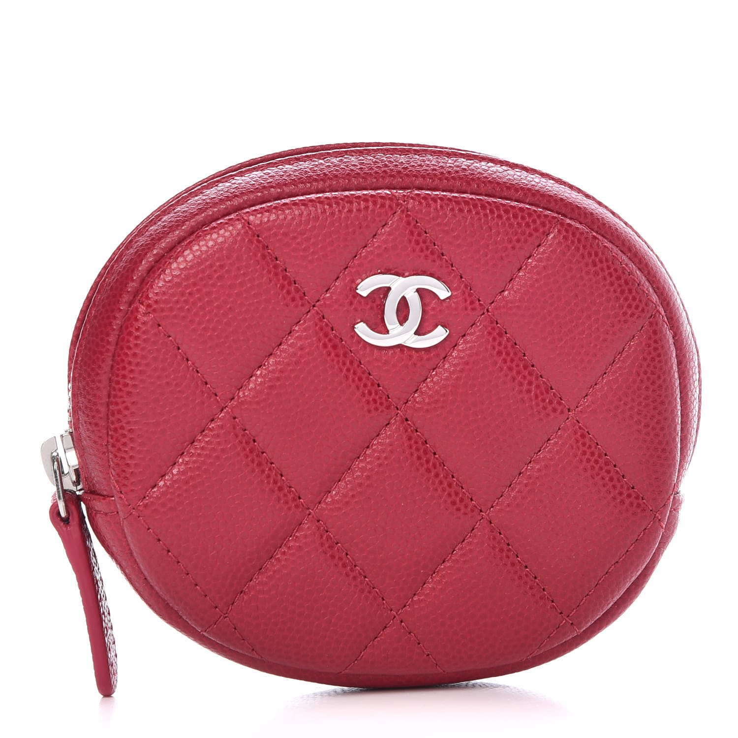 4f6c1d72cbc6 CHANEL Caviar Quilted Zip Around Classic Coin Purse Dark Pink 317067