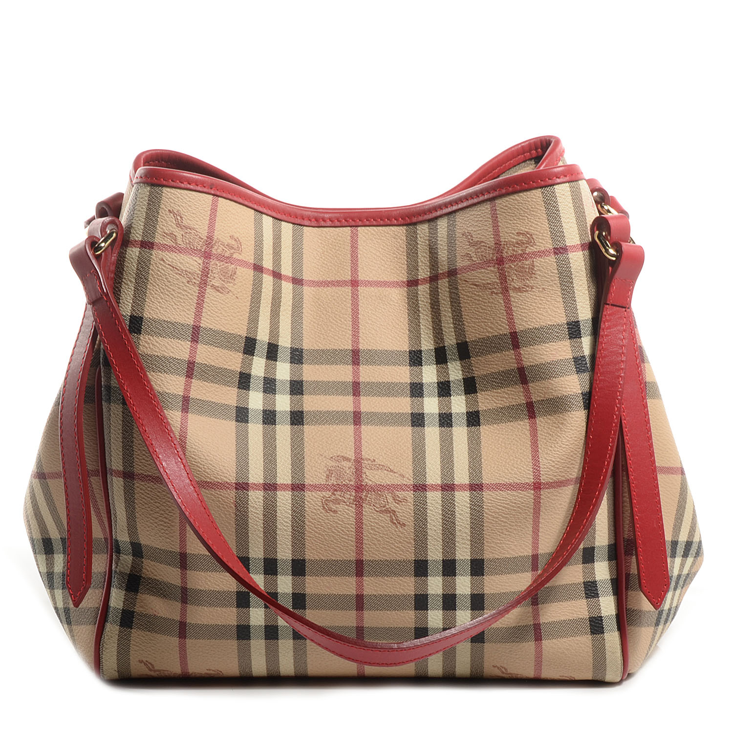 d3f073ffac BURBERRY Haymarket Check Small Canterbury Tote Coral Red 74197