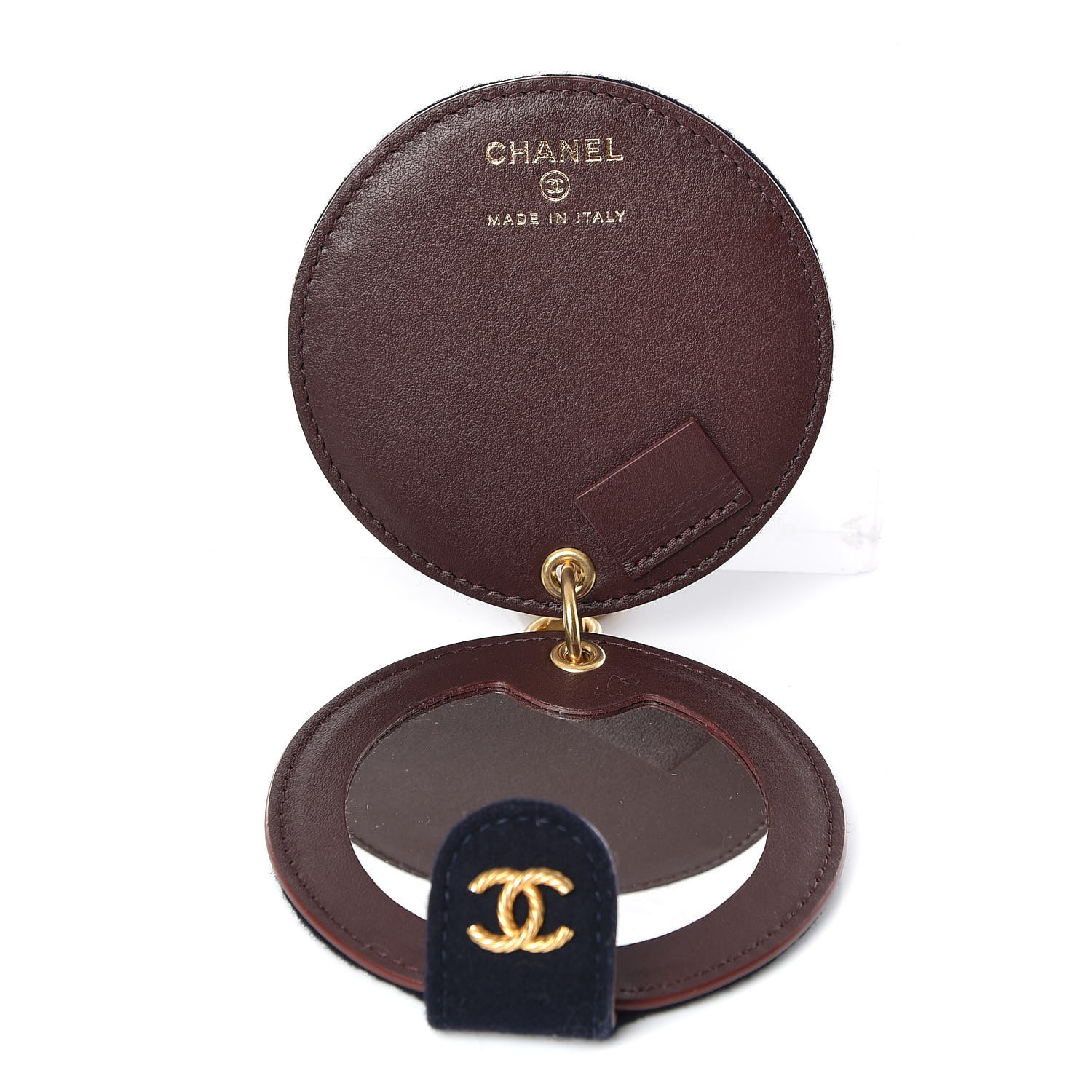 Chanel Wool Quilted Paris Hamburg Charms Pocket Mirror Navy 391069