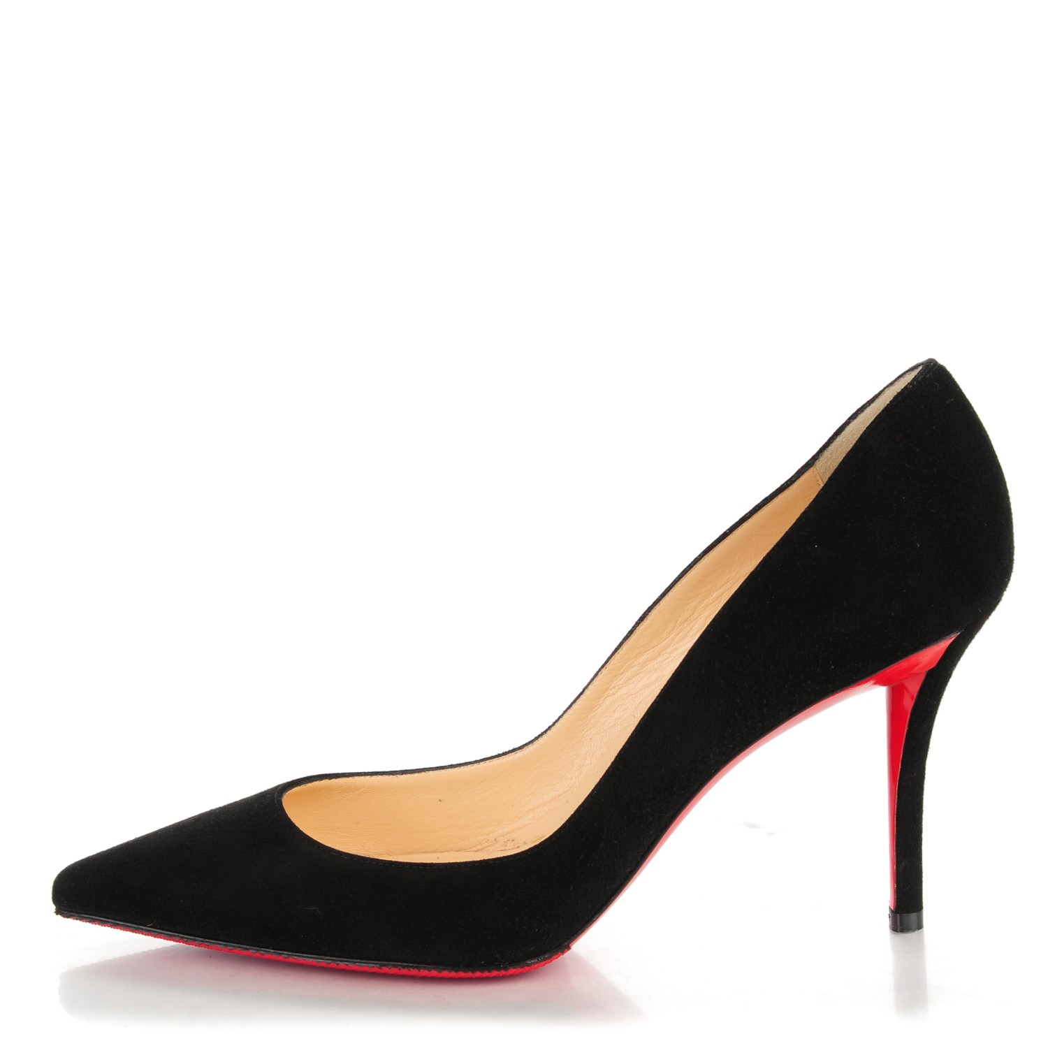 cheap for discount f5a67 419fa CHRISTIAN LOUBOUTIN Suede Apostrophy 85 Pump 38.5 Black 158879