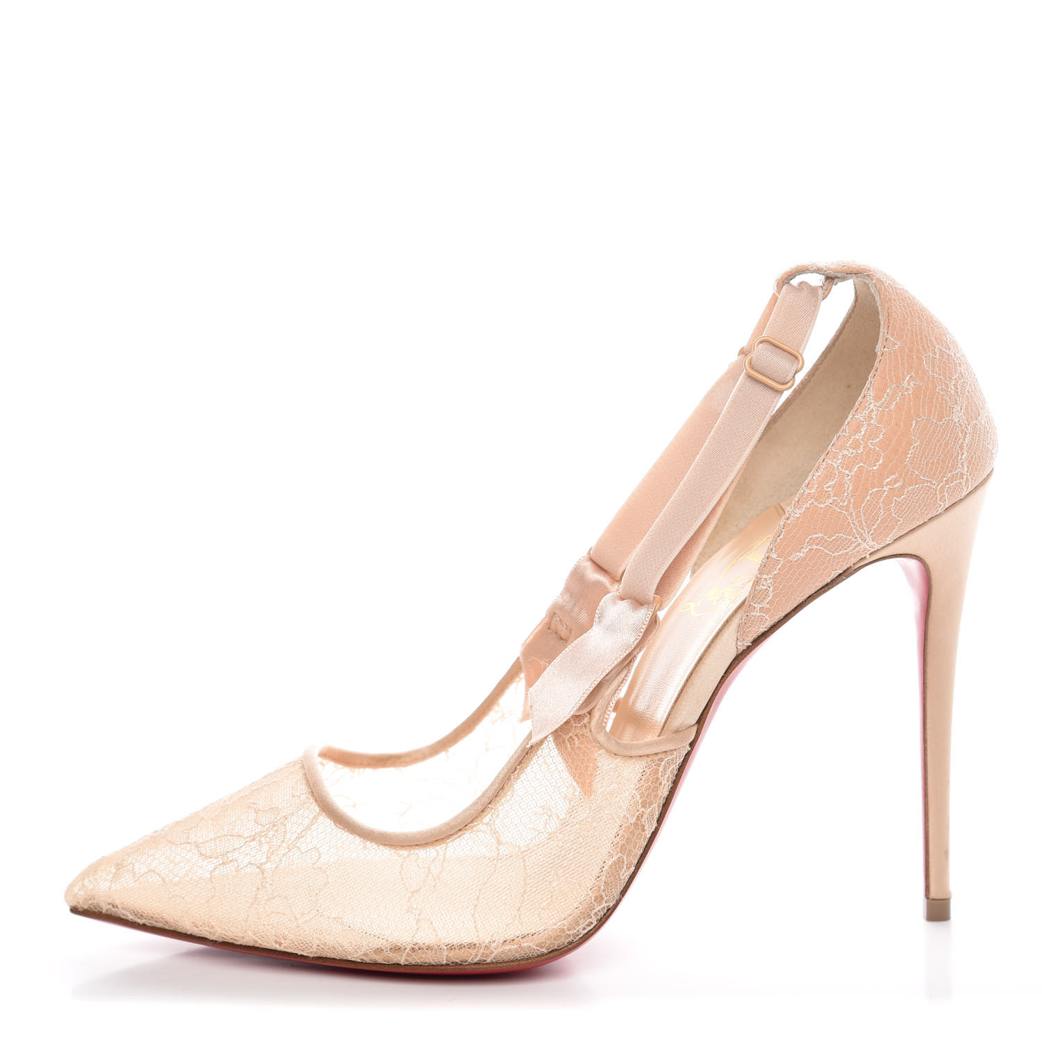 huge selection of dfbe9 959c4 CHRISTIAN LOUBOUTIN Satin Chantilly Lace Hot Jeanbi 100 Pumps 38 Nude