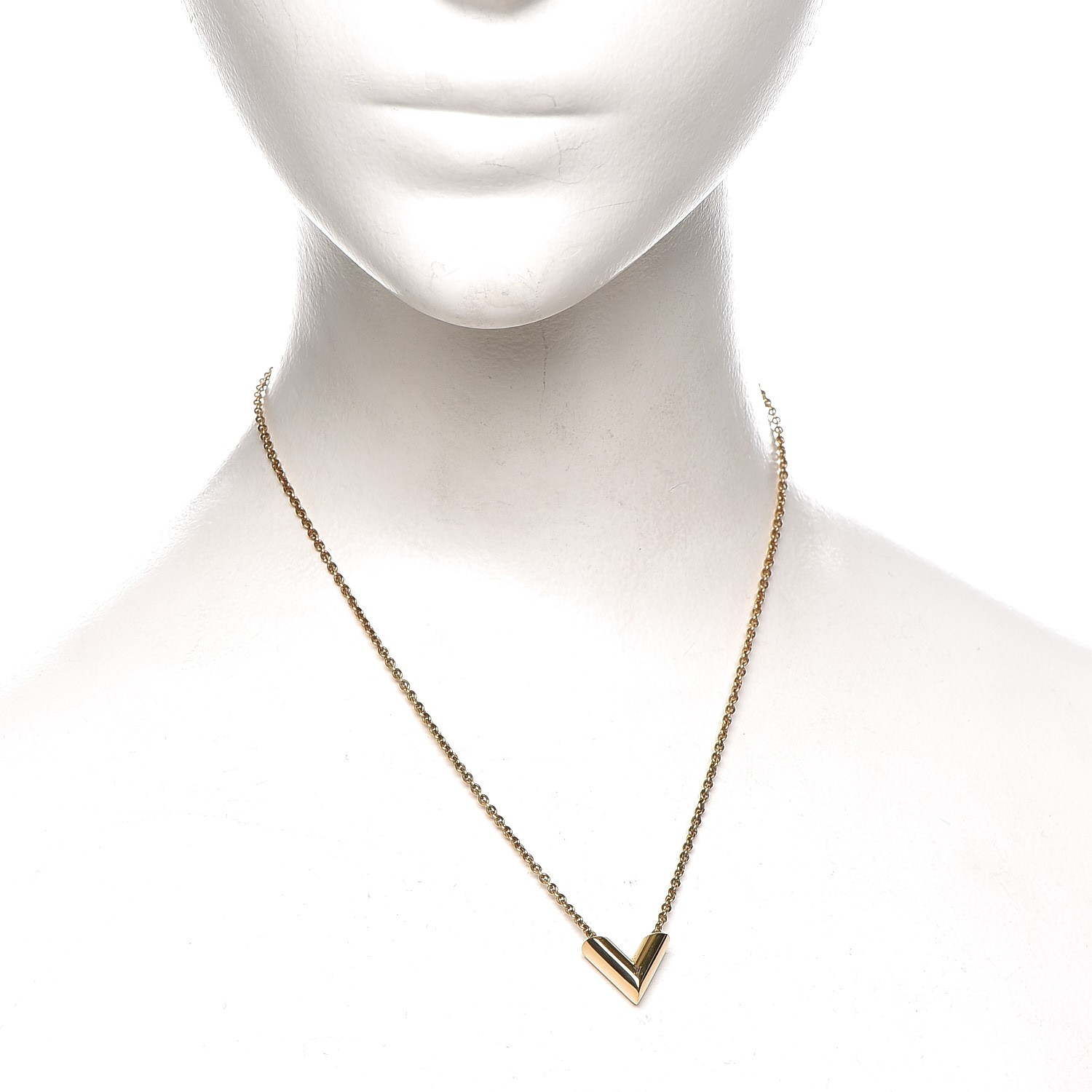7240396c8451 LOUIS VUITTON Essential V Necklace Gold 222012