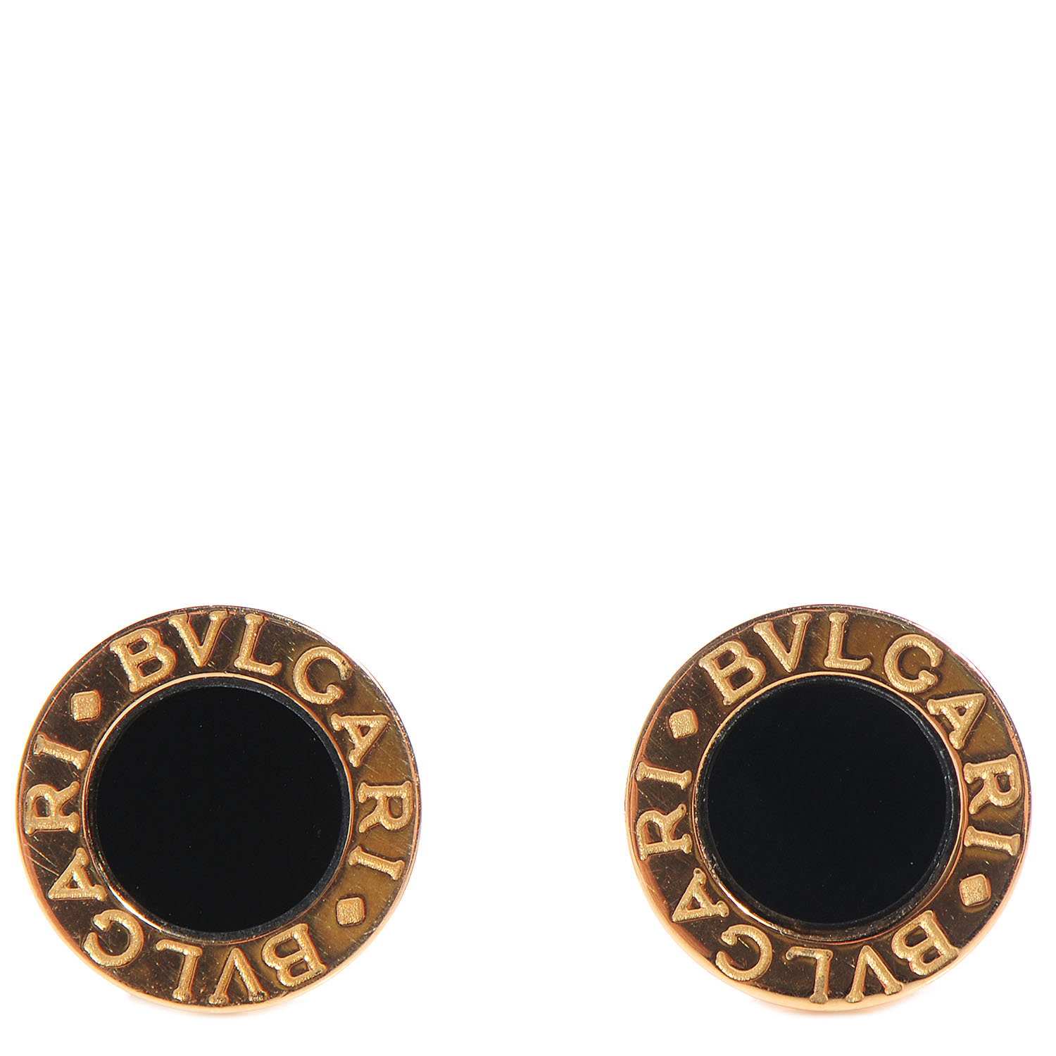 Bulgari Bvlgari 18k Yellow Gold Black Onyx Stud Earrings 88019