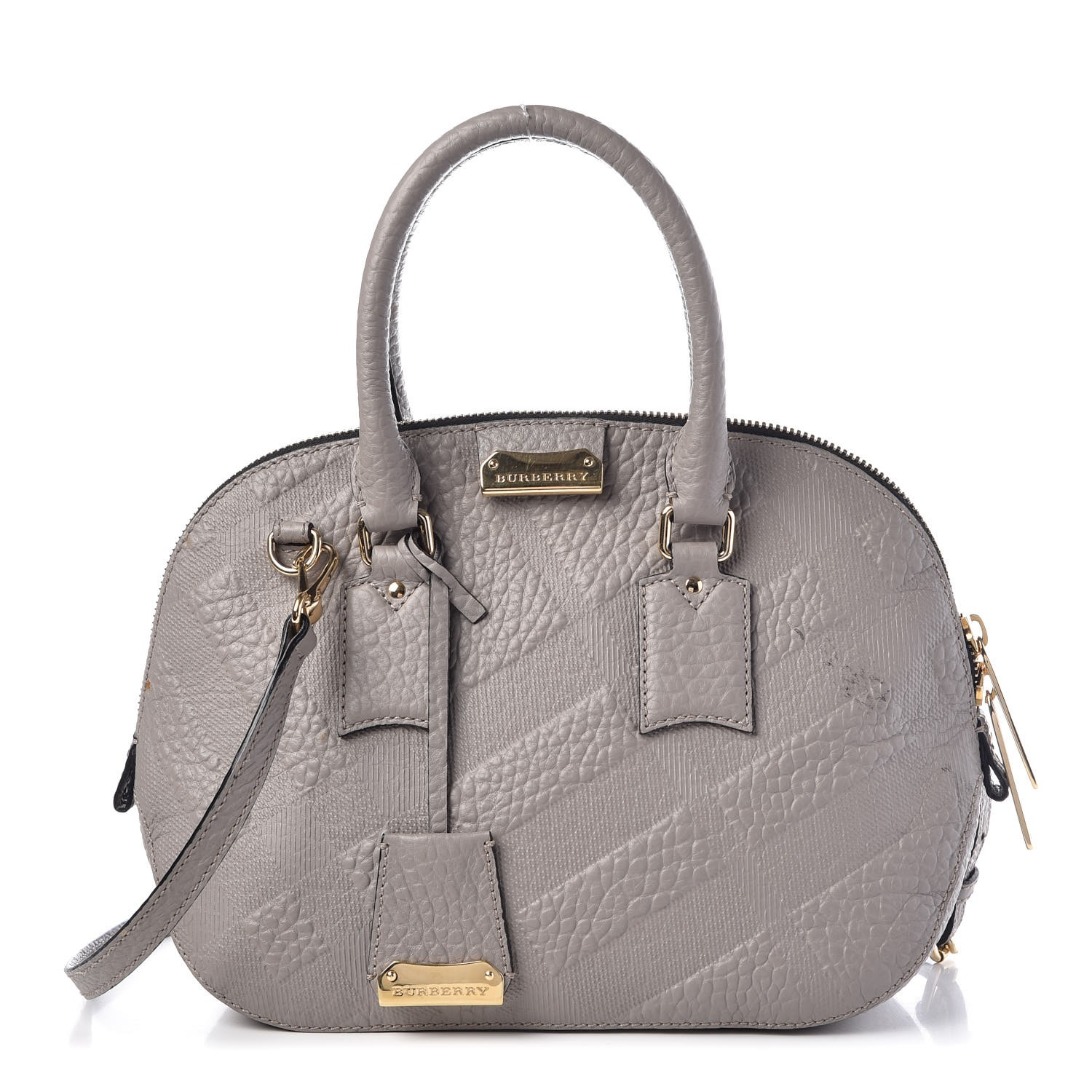 7a9e7ab64aa1 BURBERRY Heritage Grain Check Small Orchard Bowling Bag Pale Grey 347335