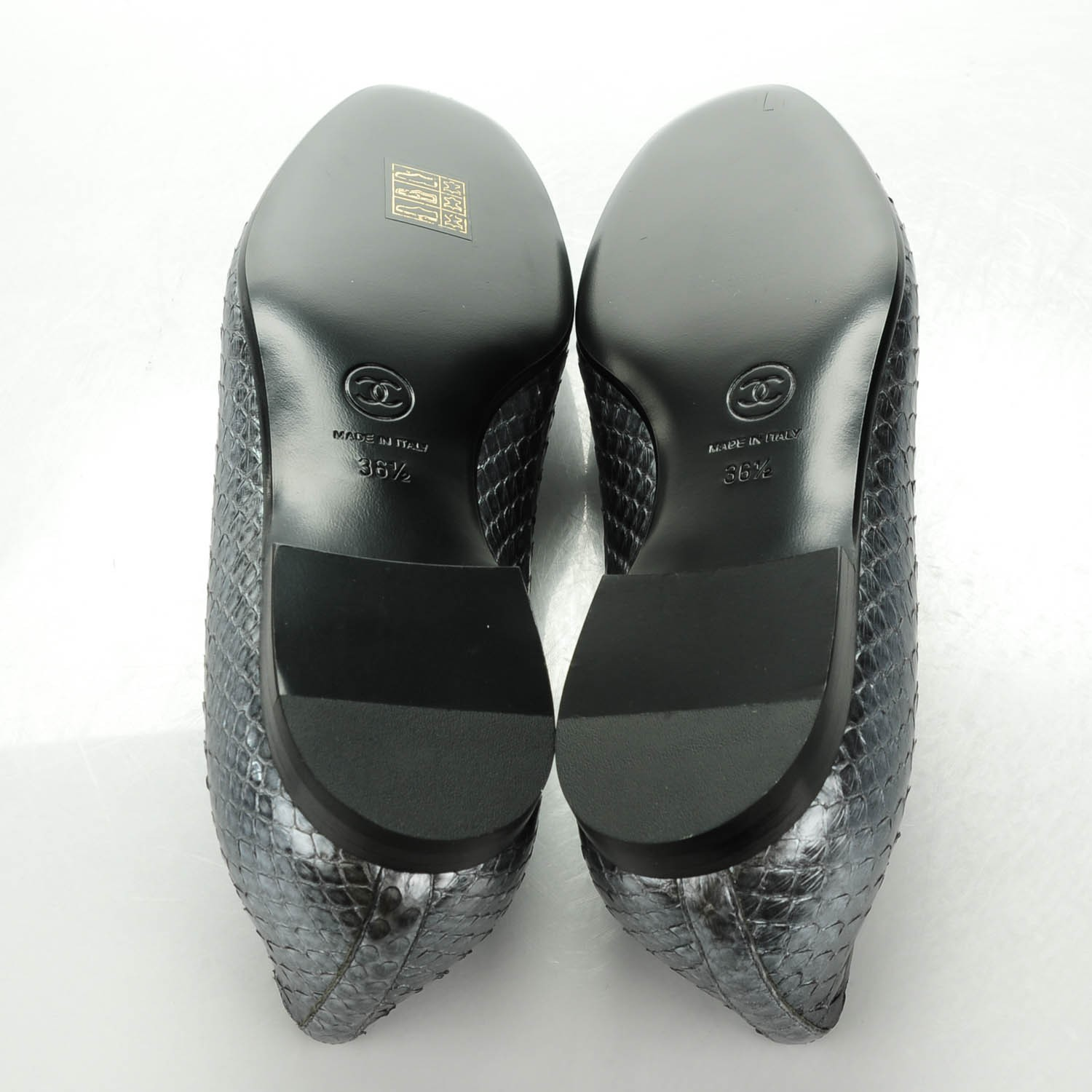 CHANEL Python CC Mocassin Loafers 36 5 Dark Grey 141256