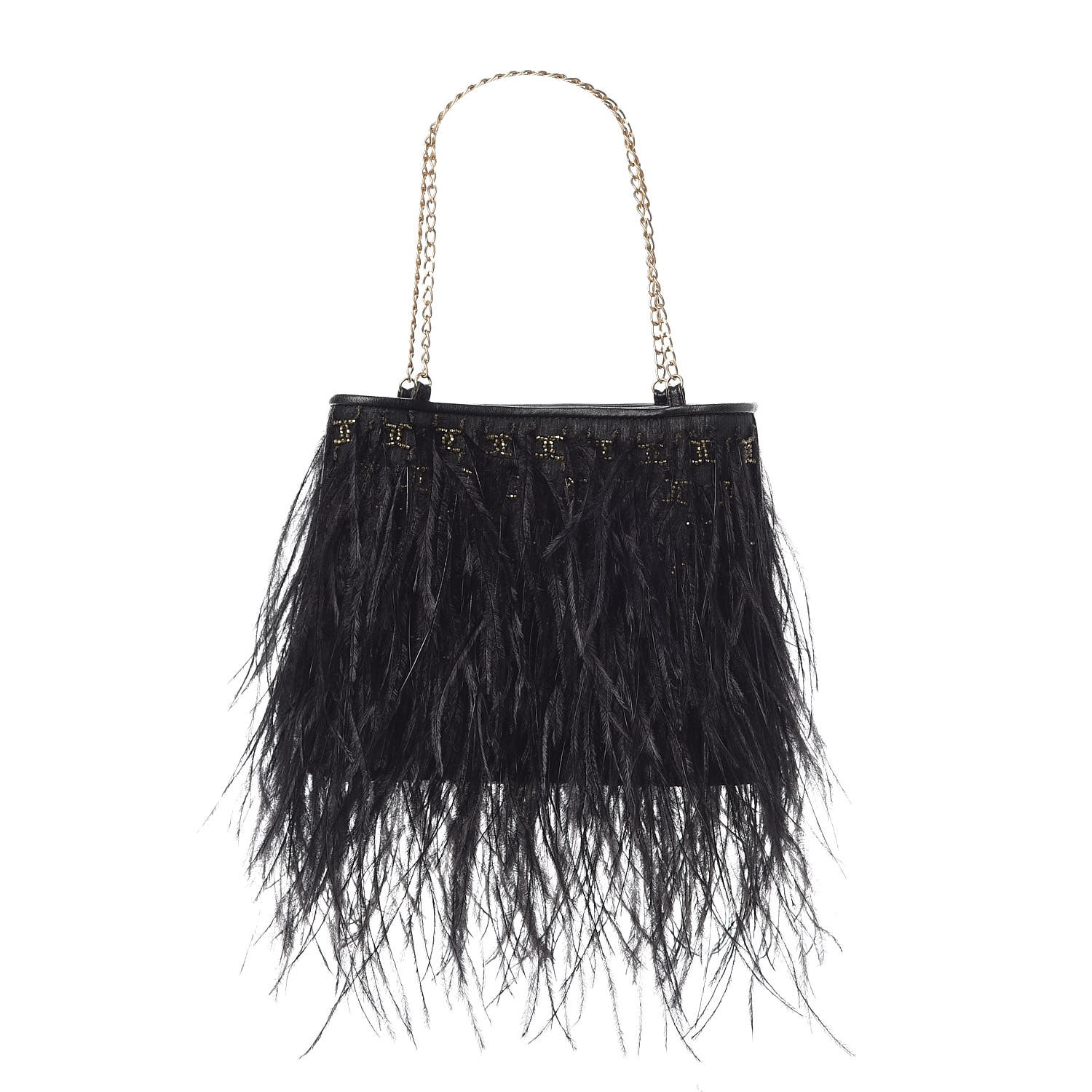 55e1b5794ca1df CHANEL Ostrich Feather Beaded CC Evening Bag Black 326315