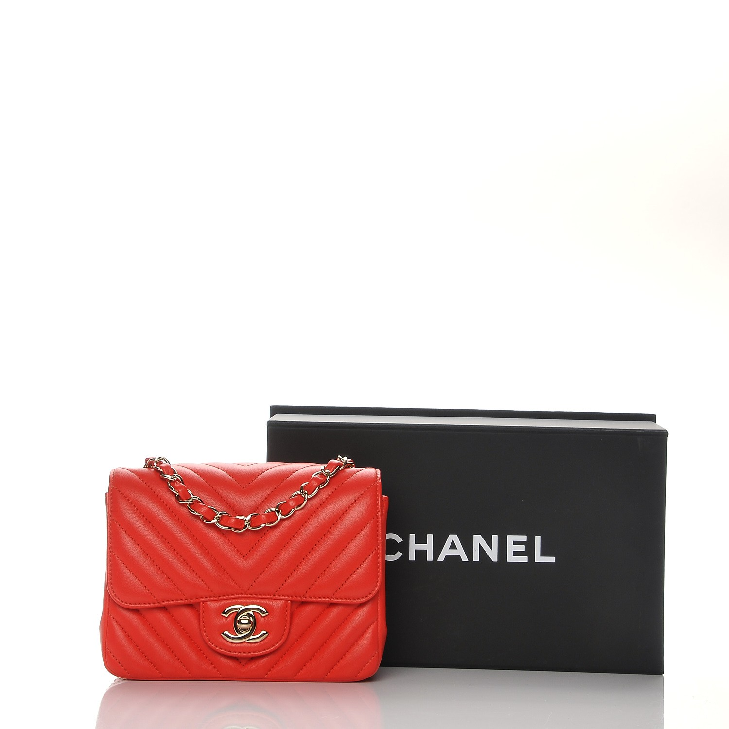 a3457f6febd188 CHANEL Lambskin Chevron Quilted Mini Square Flap Red 204511