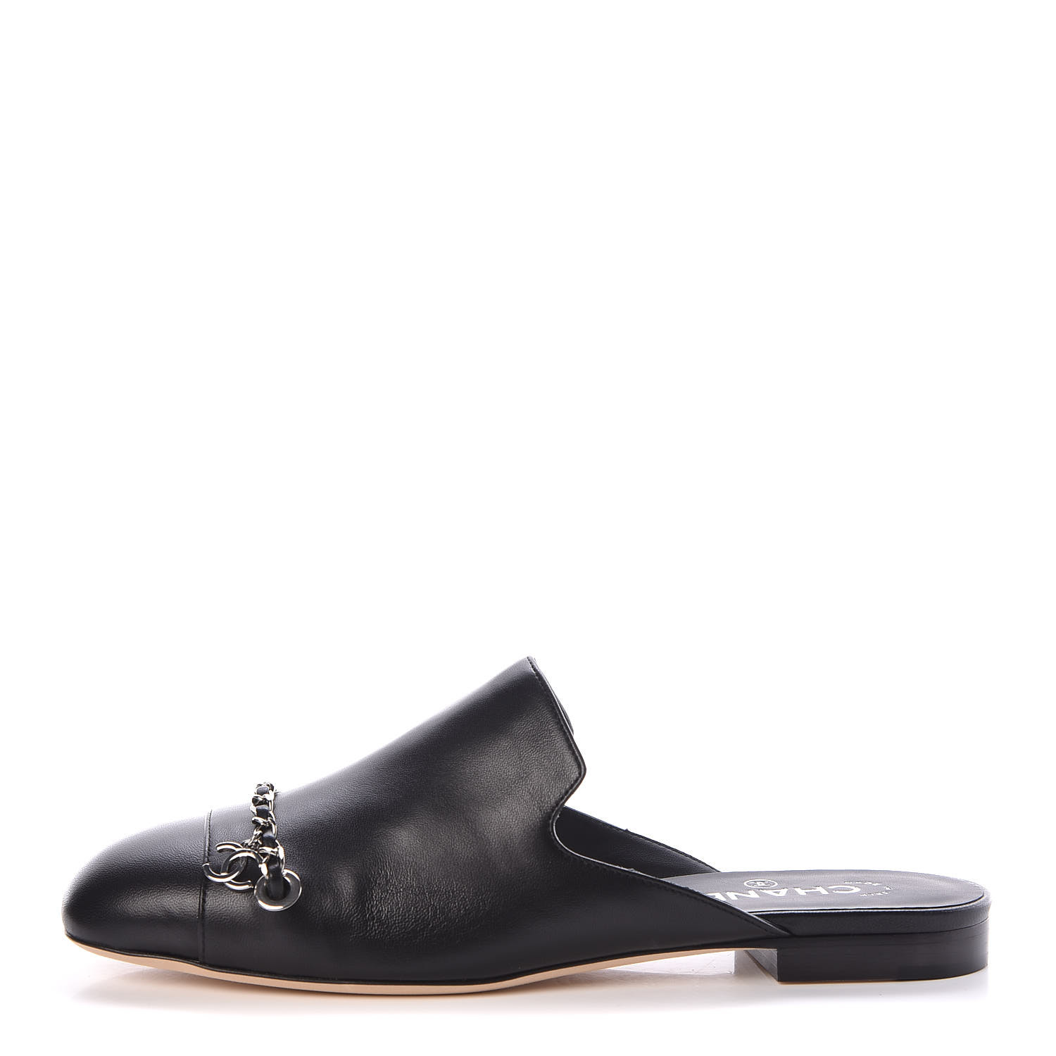 vivid and great in style beautiful design fashion style CHANEL Lambskin Chain CC Mules 39.5 Black