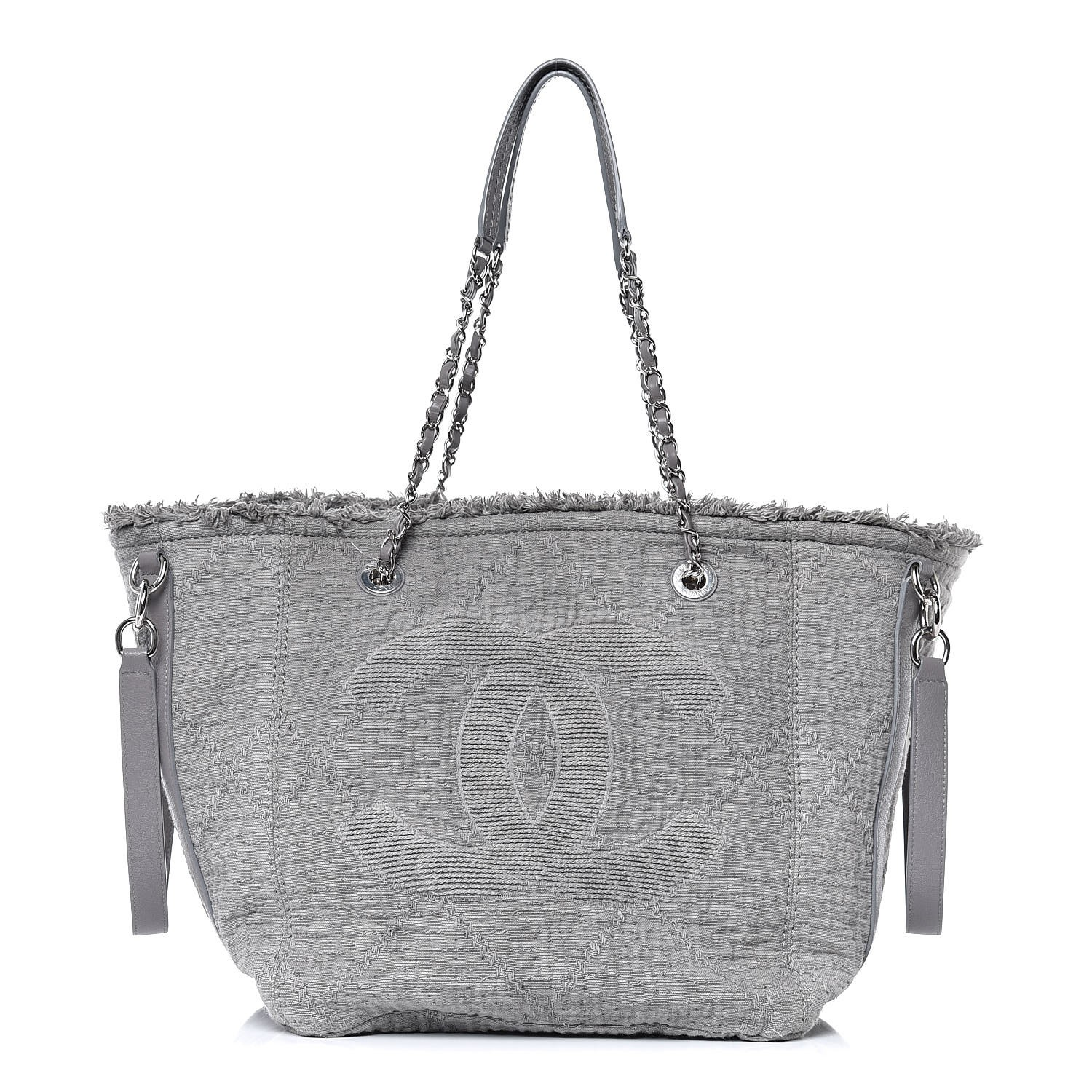 306e378a1c09 CHANEL Canvas Small Double Face Shopping Tote Grey 349424