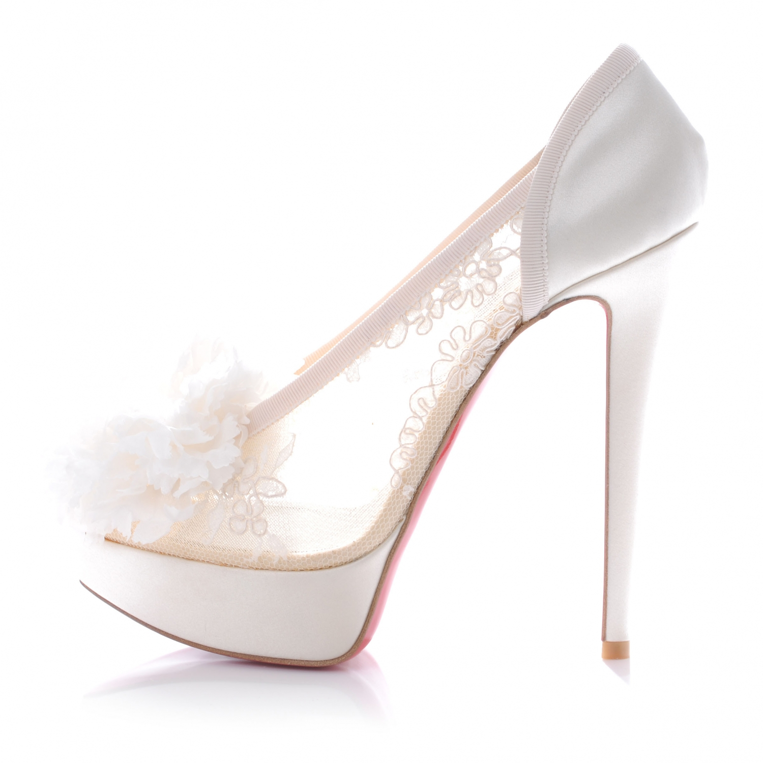 various colors 752a9 94c06 CHRISTIAN LOUBOUTIN Crepe Satin Lace Tsar 140 Heels 38 White ...