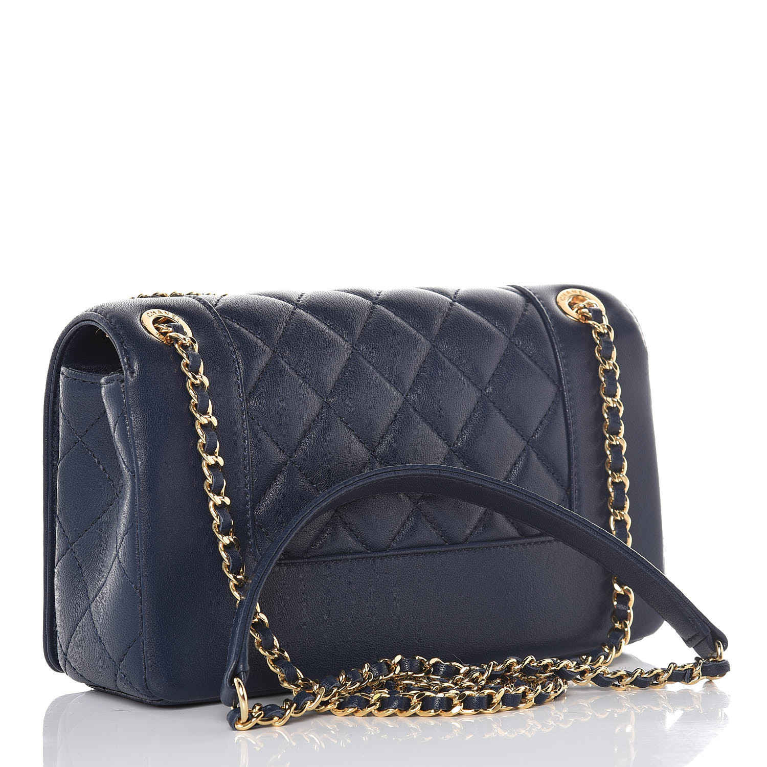e83612265cbe CHANEL Sheepskin Quilted Small Vintage Mademoiselle Flap Navy. Empty. Pinch/ Zoom