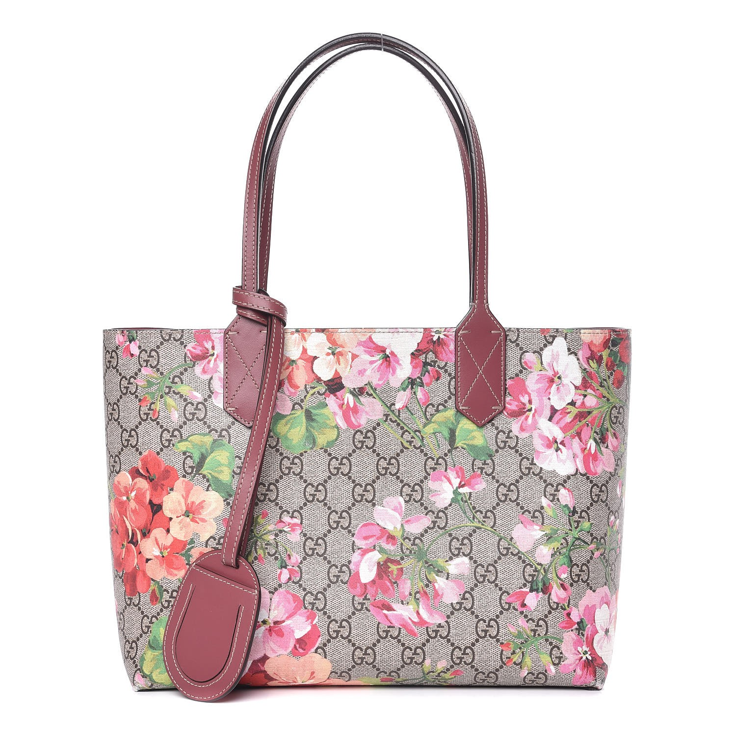 b81800703 GUCCI GG Supreme Monogram Blooms Print Small Reversible Tote Antique Rose  337039