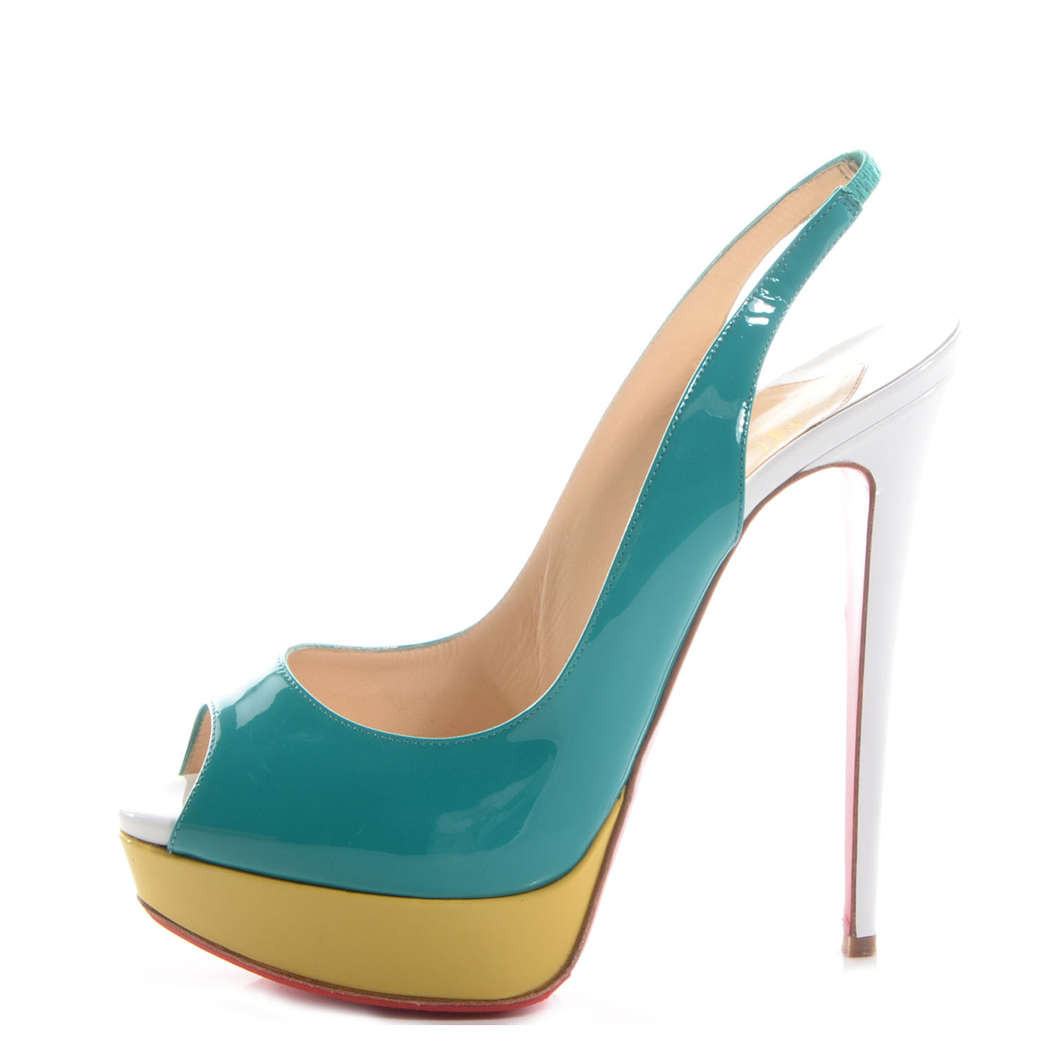 online store fe129 0bb53 CHRISTIAN LOUBOUTIN Patent Flo Lady Peep Sling 150 Tri-Color ...