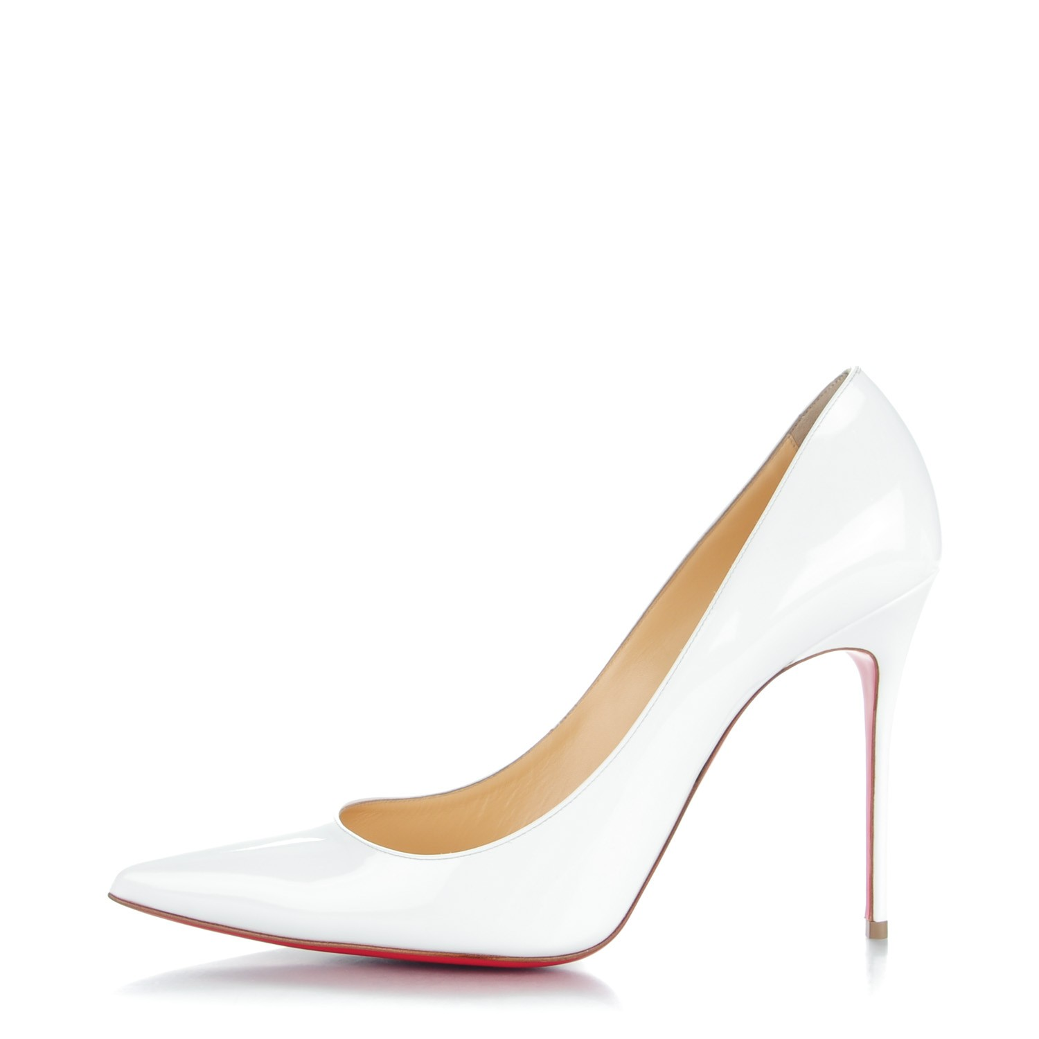 another chance 4e41d 70a69 CHRISTIAN LOUBOUTIN Patent Decollete 554 100 Pumps 42 White ...