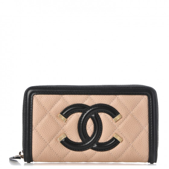 91d7a47884a492 CHANEL Caviar Quilted Small Filigree Zip Around Wallet Beige Black 288293