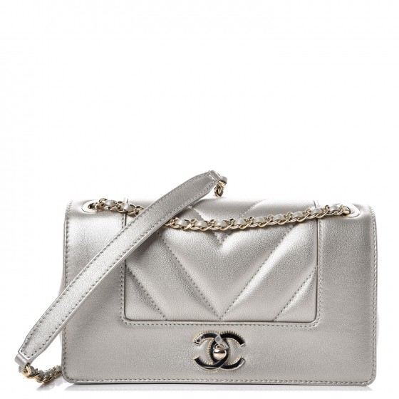 58312f5943c0 CHANEL Metallic Sheepskin Chevron Quilted Small Vintage Mademoiselle Flap  Light Gold 234396
