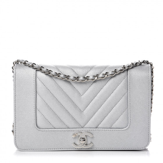 76ad24bc6681 CHANEL Metallic Caviar Chevron Quilted Vintage Mademoiselle Wallet On Chain  WOC Silver 362525