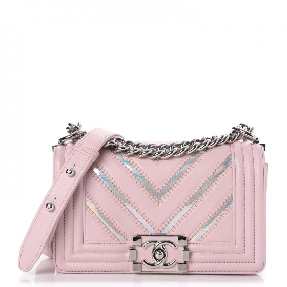 a6f95dce4559 CHANEL Lambskin Iridescent PVC Chevron Quilted Small Boy Flap Light Pink  Silver 262567