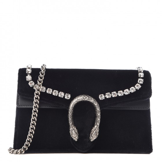23f5fcd7276c GUCCI Velvet Crystal Super Mini Dionysus Bag Black 350929