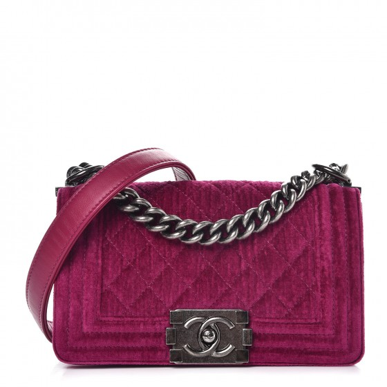 d8452e73c5bf CHANEL Velvet Quilted Small Boy Flap Fuchsia 278093