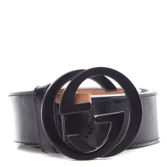 d5db4a349 GUCCI Imprime Monogram Interlocking G Belt 90 36 Black 388246